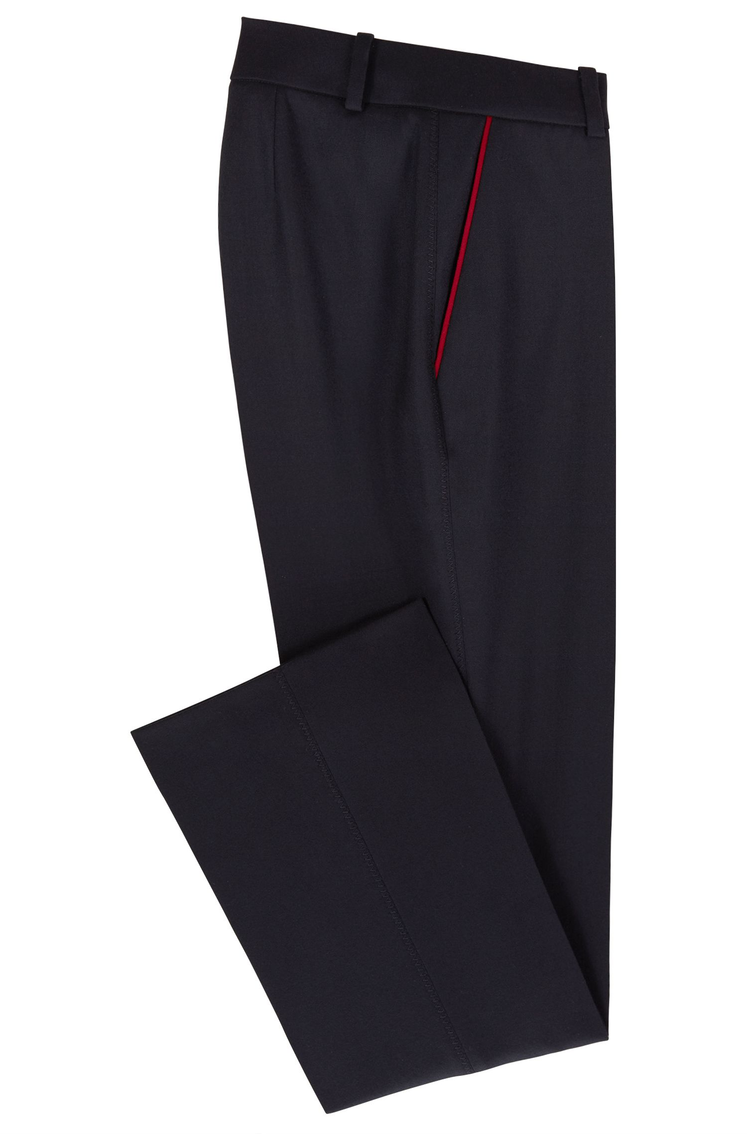 Made in Germany cropped pants in stretch wool with contrast piping, Open Blue