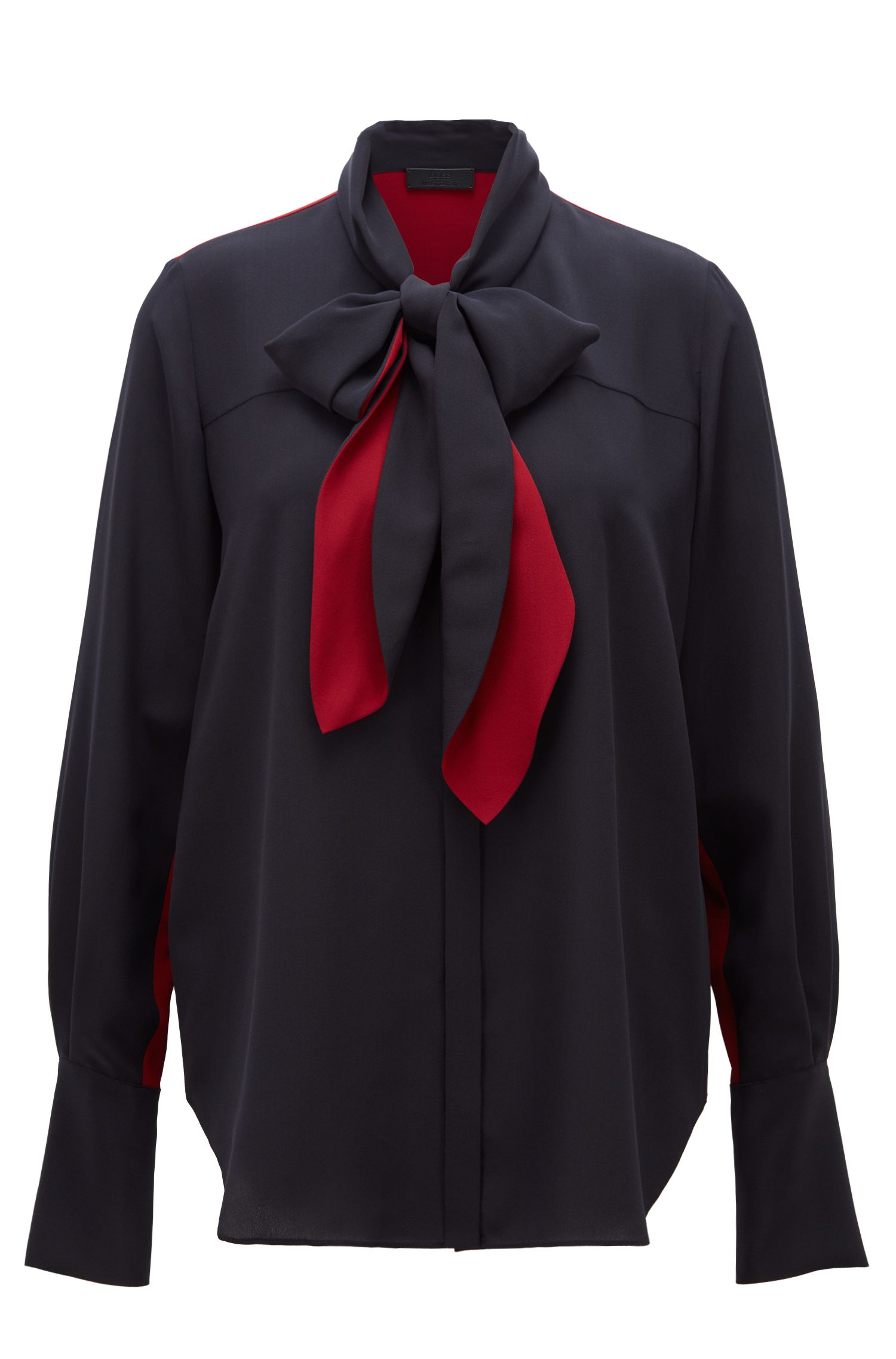 Made in Germany silk blouse with bow-tie collar, Open Blue