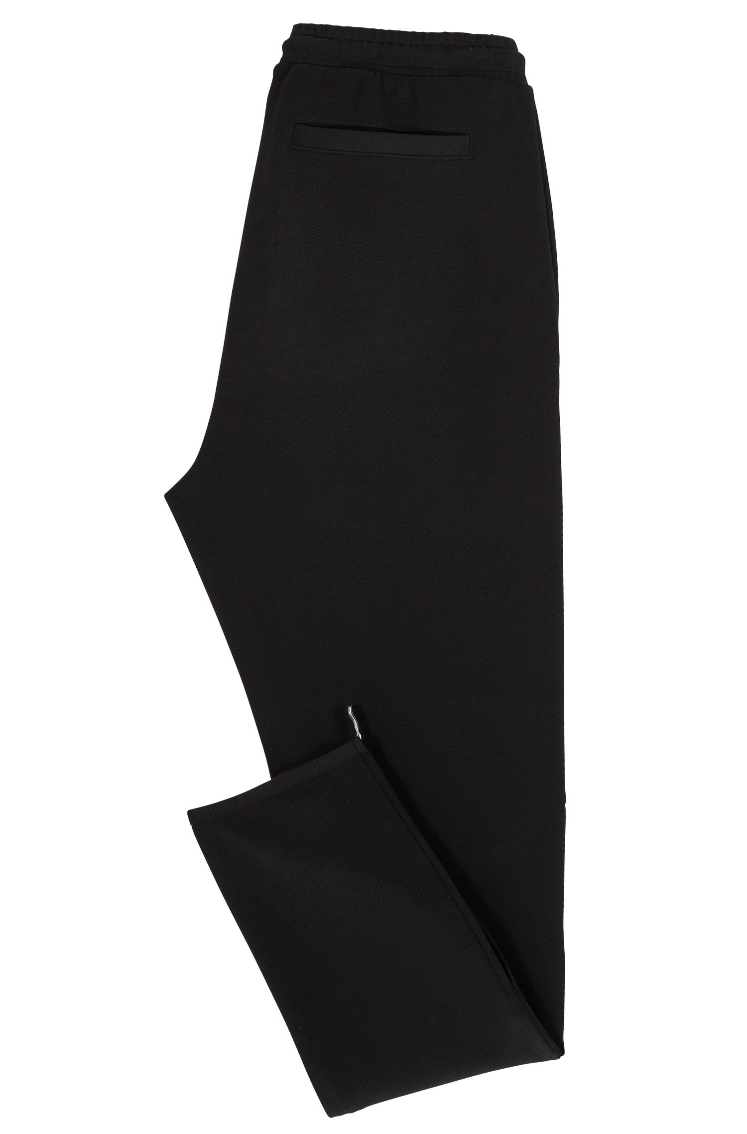 Slim-fit pants in stretch jersey with zipper details, Black