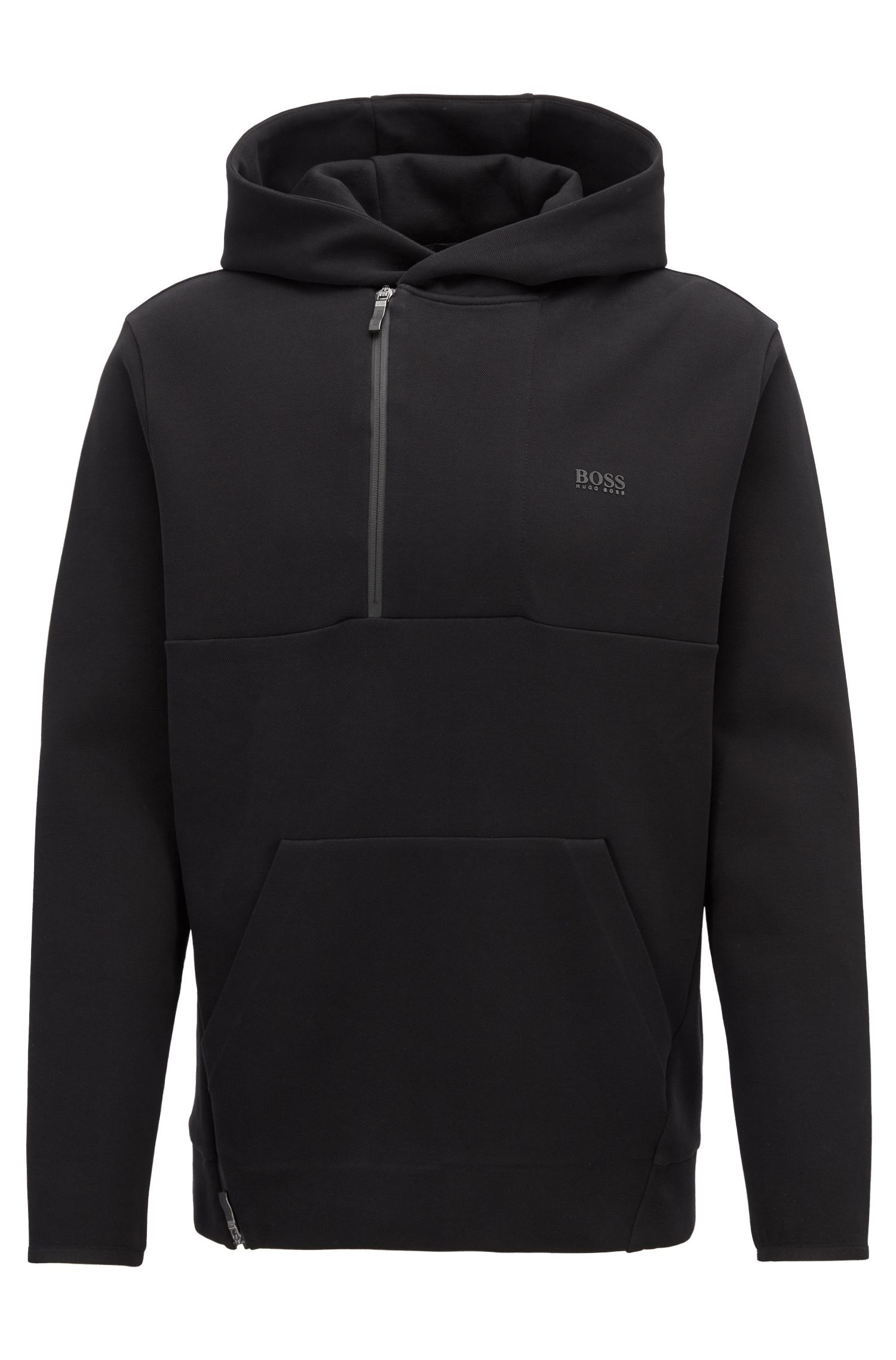 Hooded sweatshirt in cotton-blend piqué with hidden zip, Black