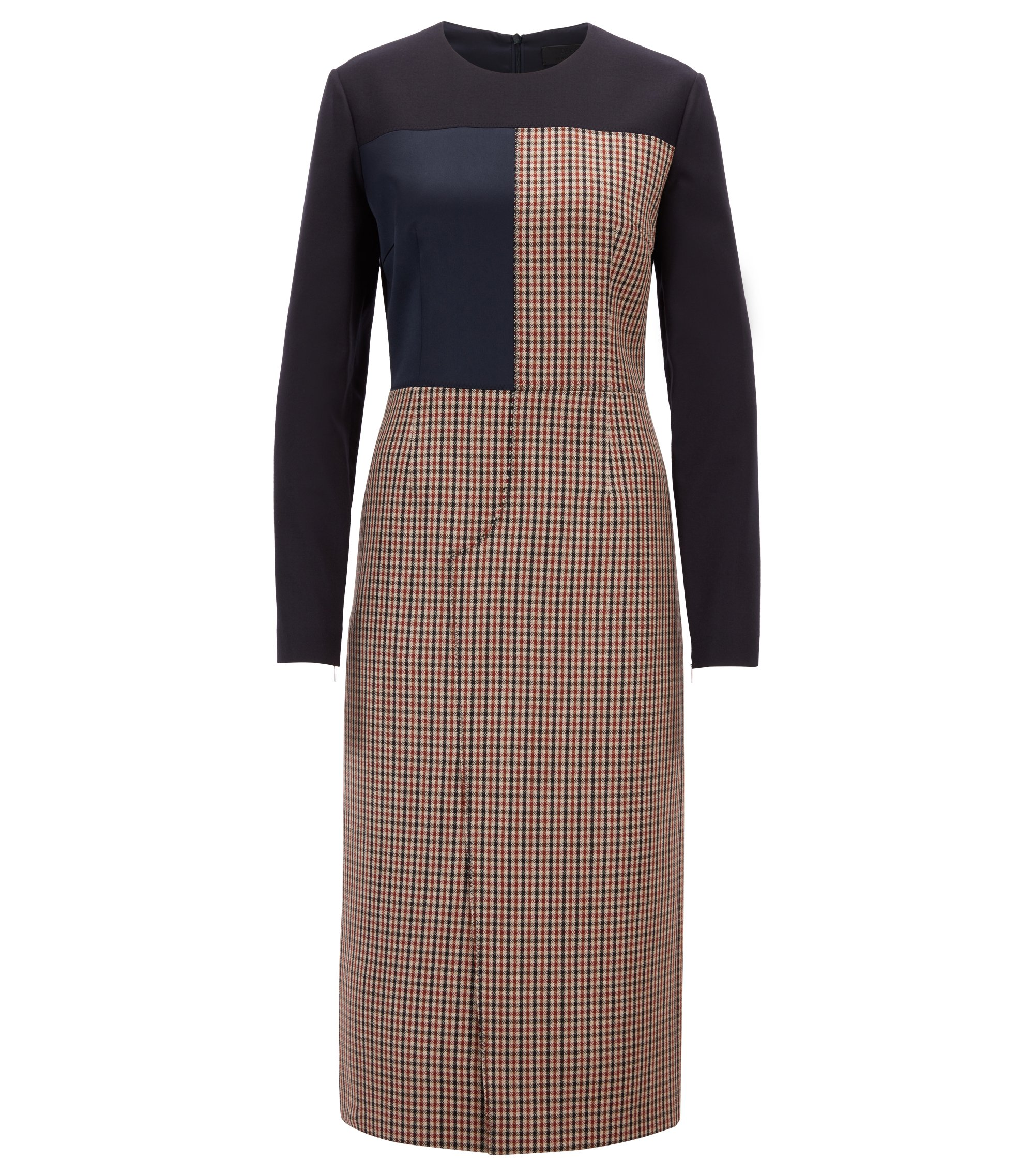 Made in Germany patchwork dress in mixed fabrics, Light Brown
