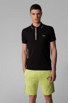 Slim-fit polo shirt in Pima-cotton Oxford piqué, Black
