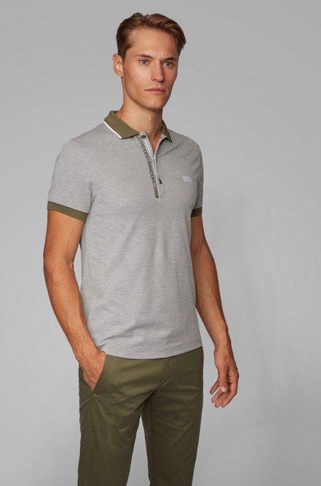 Slim-fit polo shirt in Pima-cotton Oxford piqué, Dark Green