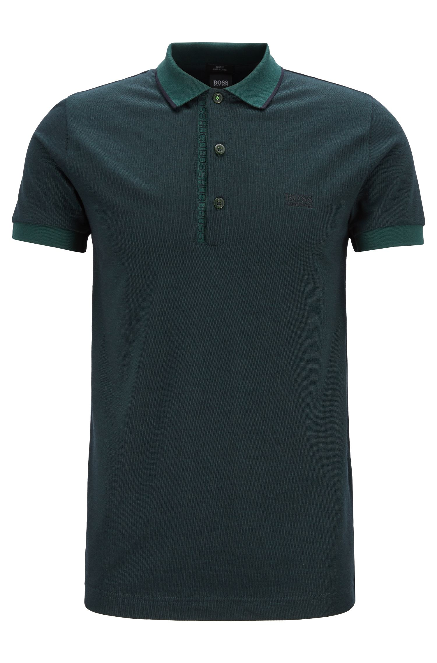 Slim-fit polo shirt in Pima-cotton Oxford piqué, Open Green