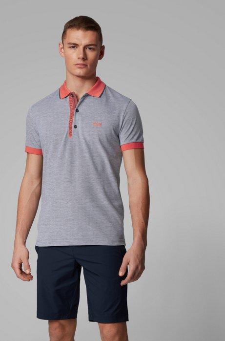 Slim-fit polo shirt in Pima-cotton Oxford piqué, Dark Blue