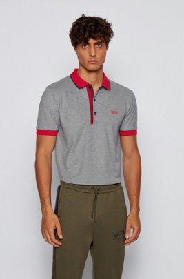 Slim-fit polo shirt in Pima-cotton Oxford piqué, Dark Blue