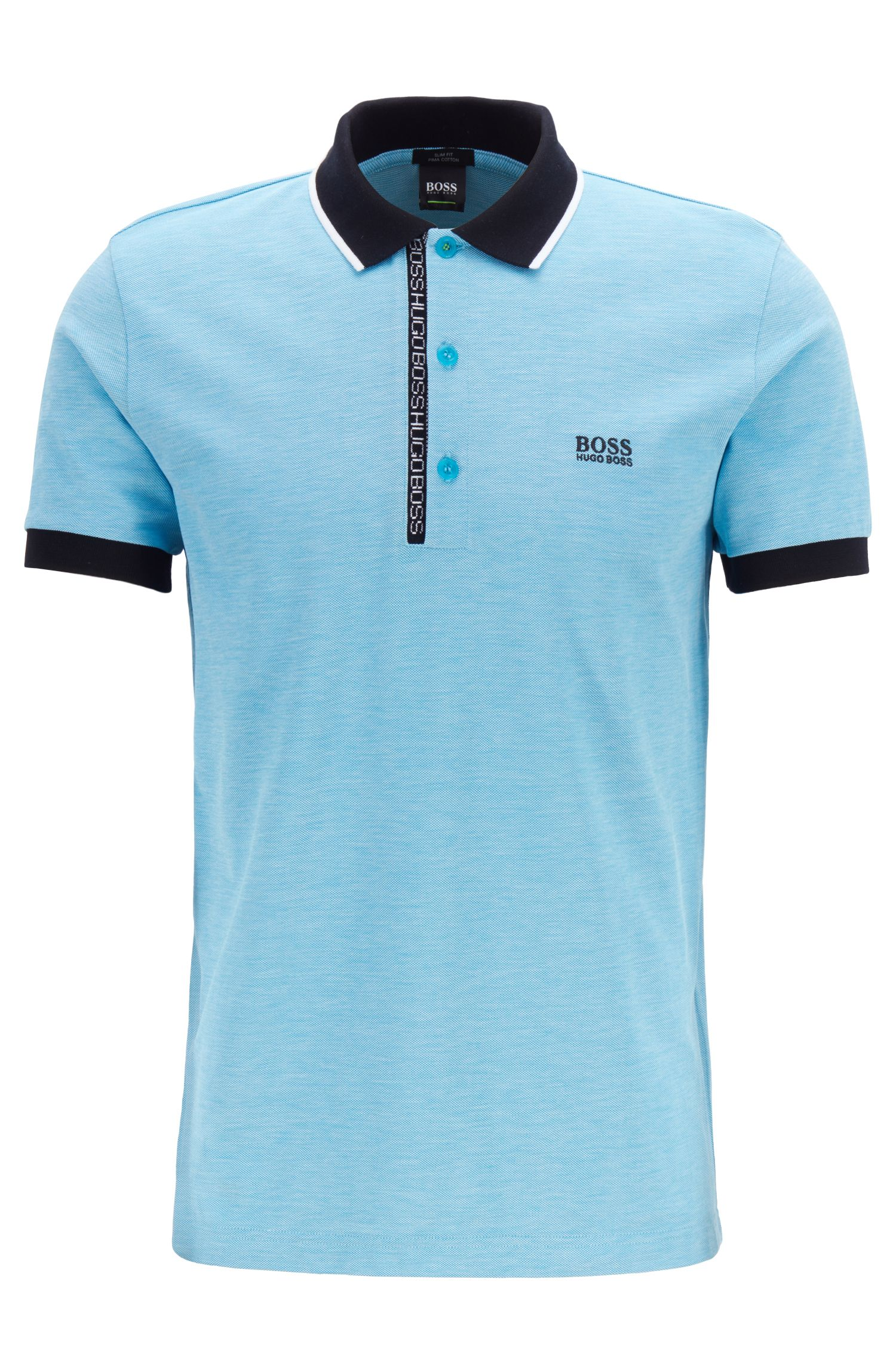 Slim-fit polo shirt in Pima-cotton Oxford piqué, Blue