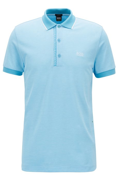 Slim-fit polo shirt in Pima-cotton Oxford piqué, Turquoise