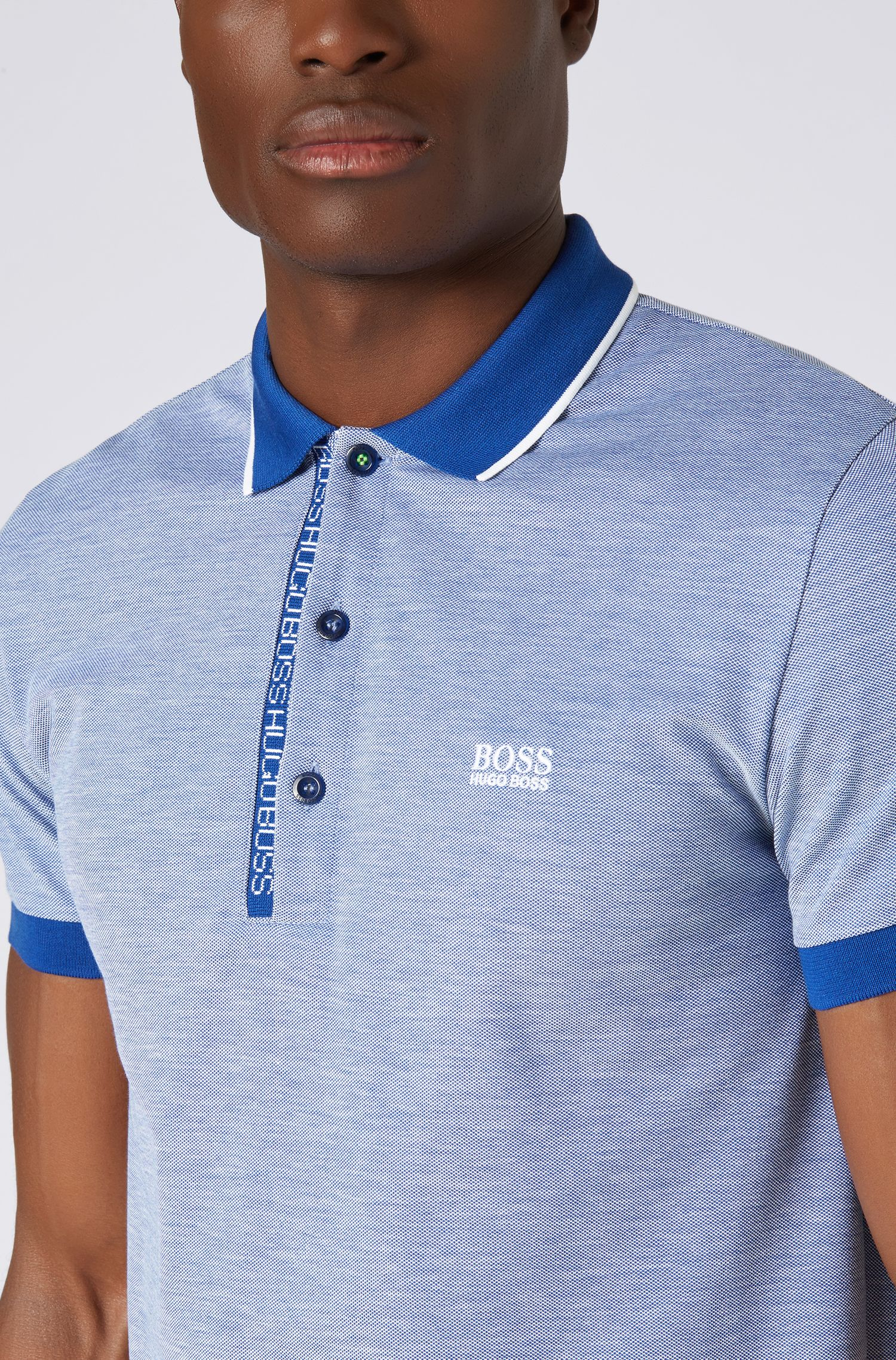 Slim-fit polo shirt in Pima-cotton Oxford piqué, Open Blue