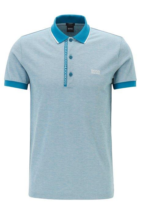 Slim-fit polo shirt in Pima-cotton Oxford piqué, Open Blue