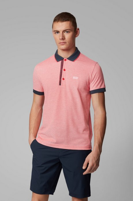 Slim-fit polo shirt in Pima-cotton Oxford piqué, Red