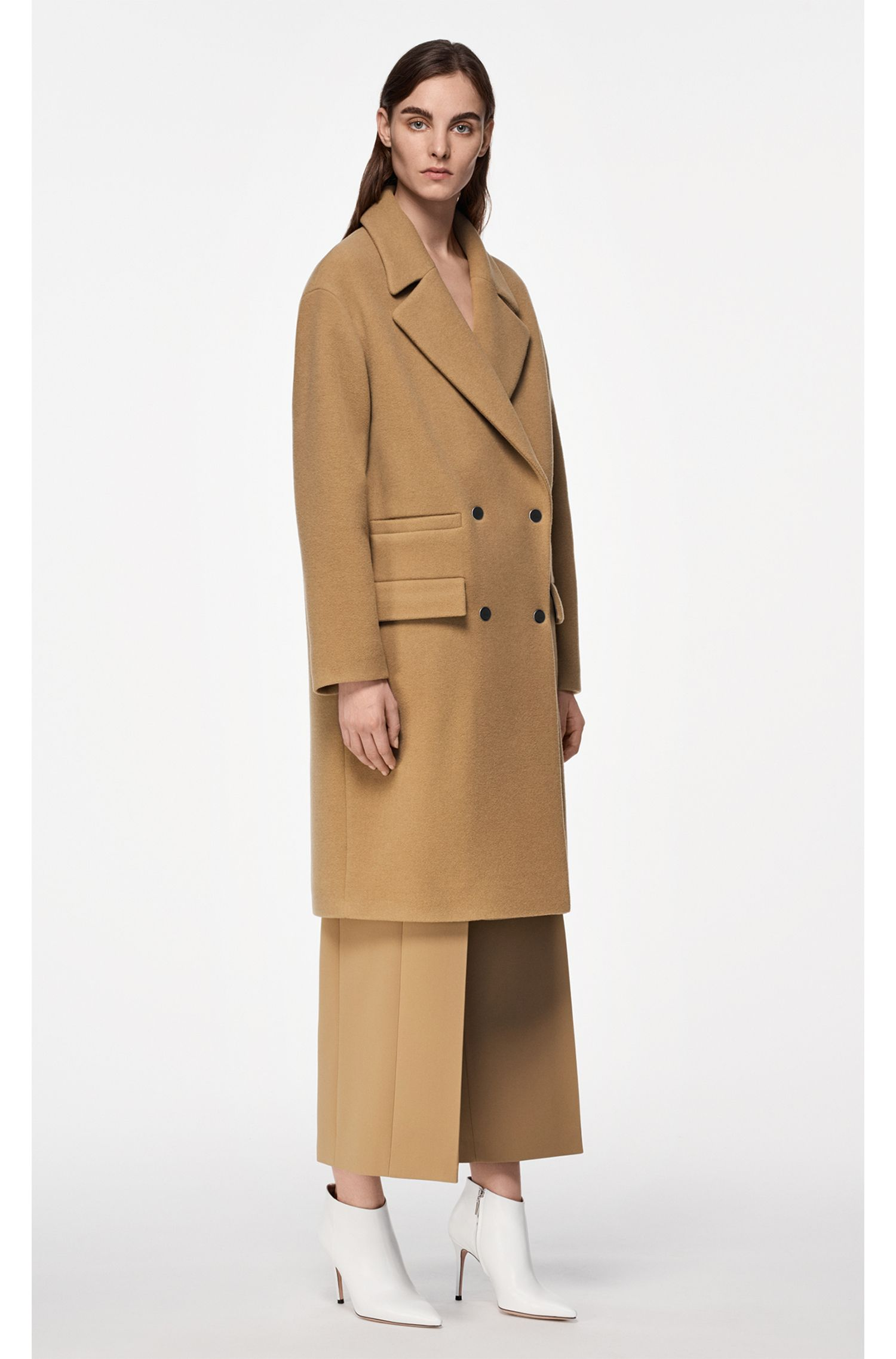 Oversized-fit coat in a wool blend with cashmere, Brown