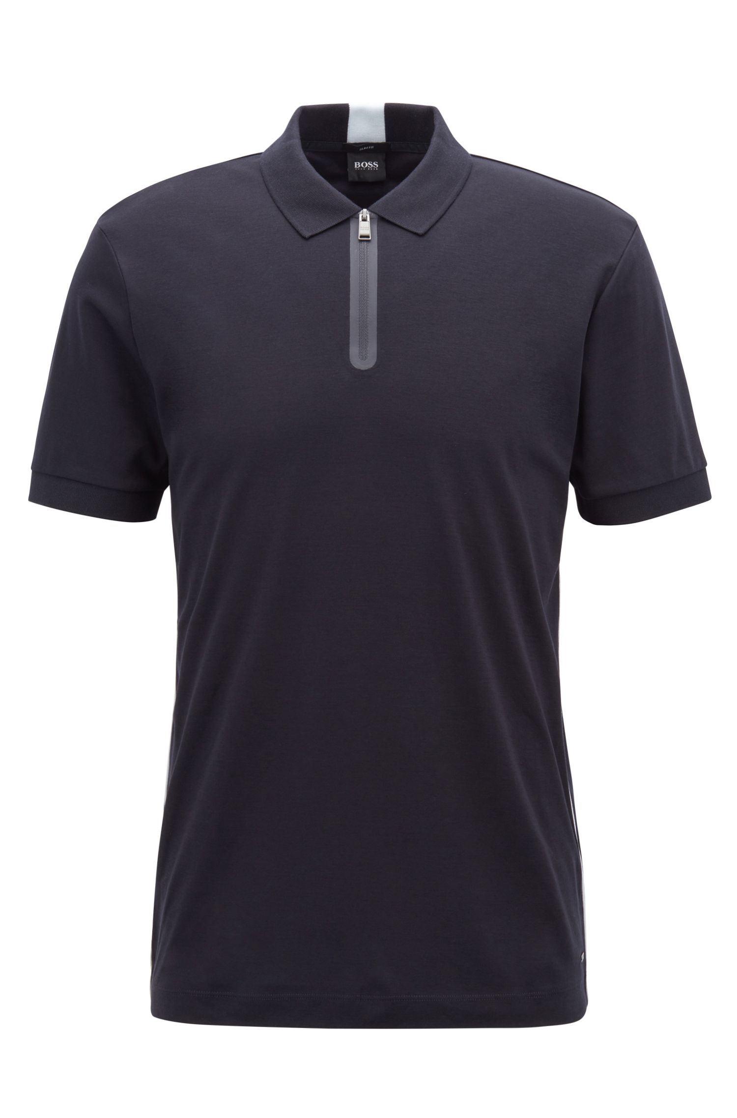 Slim-fit polo shirt in cotton with zippered neck, Open Blue