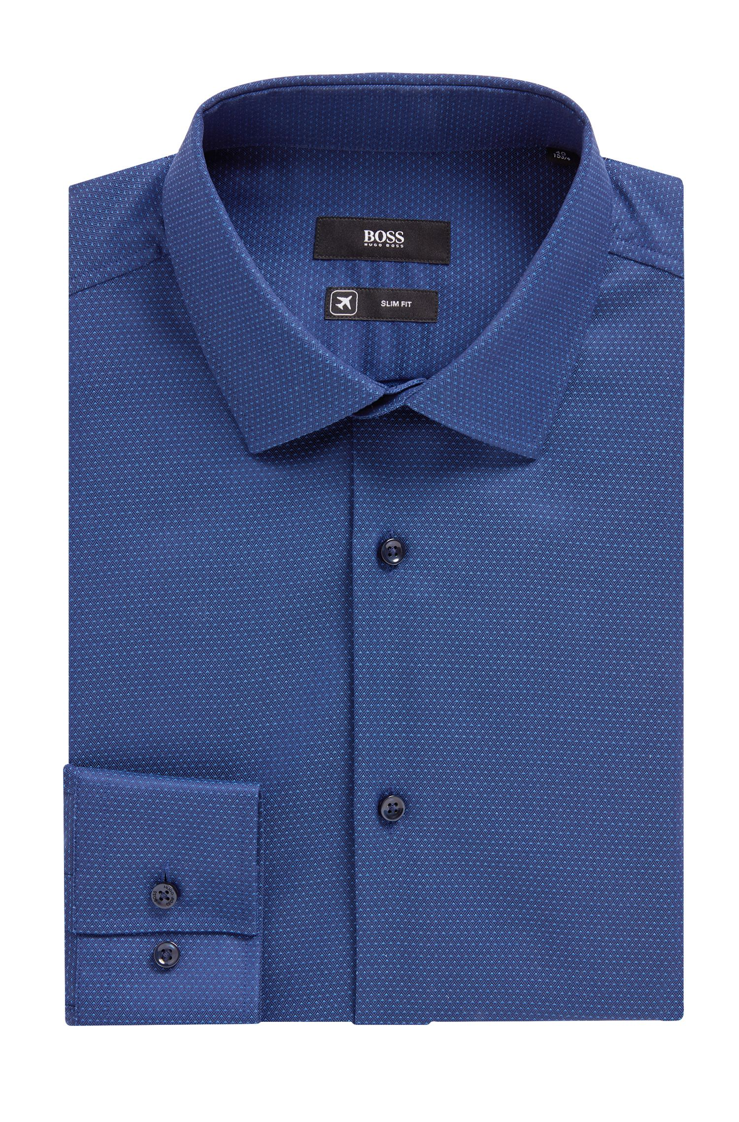 Slim-fit shirt in micro-patterned cotton with aloe vera, Dark Blue