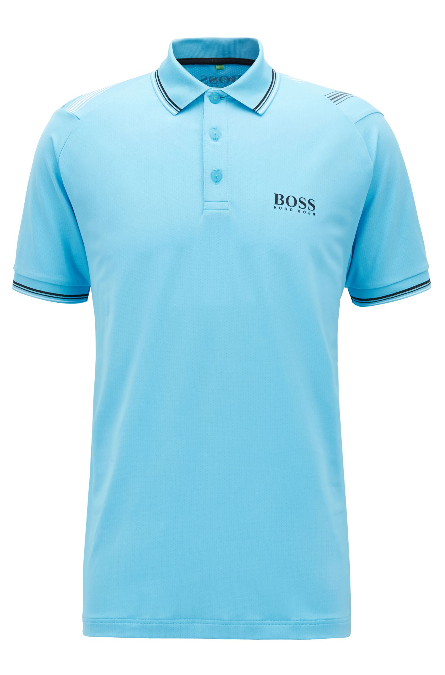 Slim-fit golf polo shirt in breathable stretch fabric, Turquoise