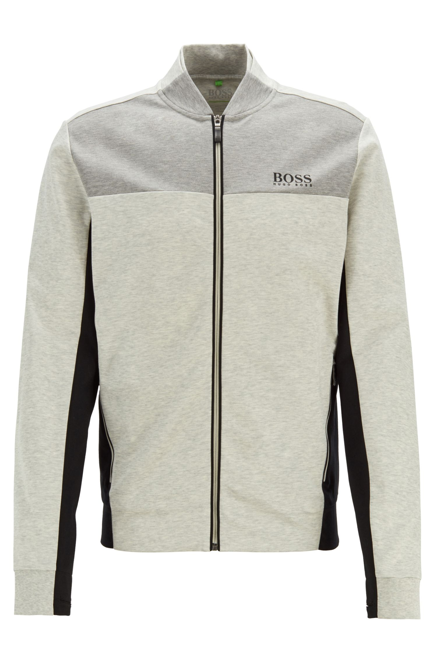 Water-repellent sweat jacket in cotton-blend interlock fabric, Light Grey