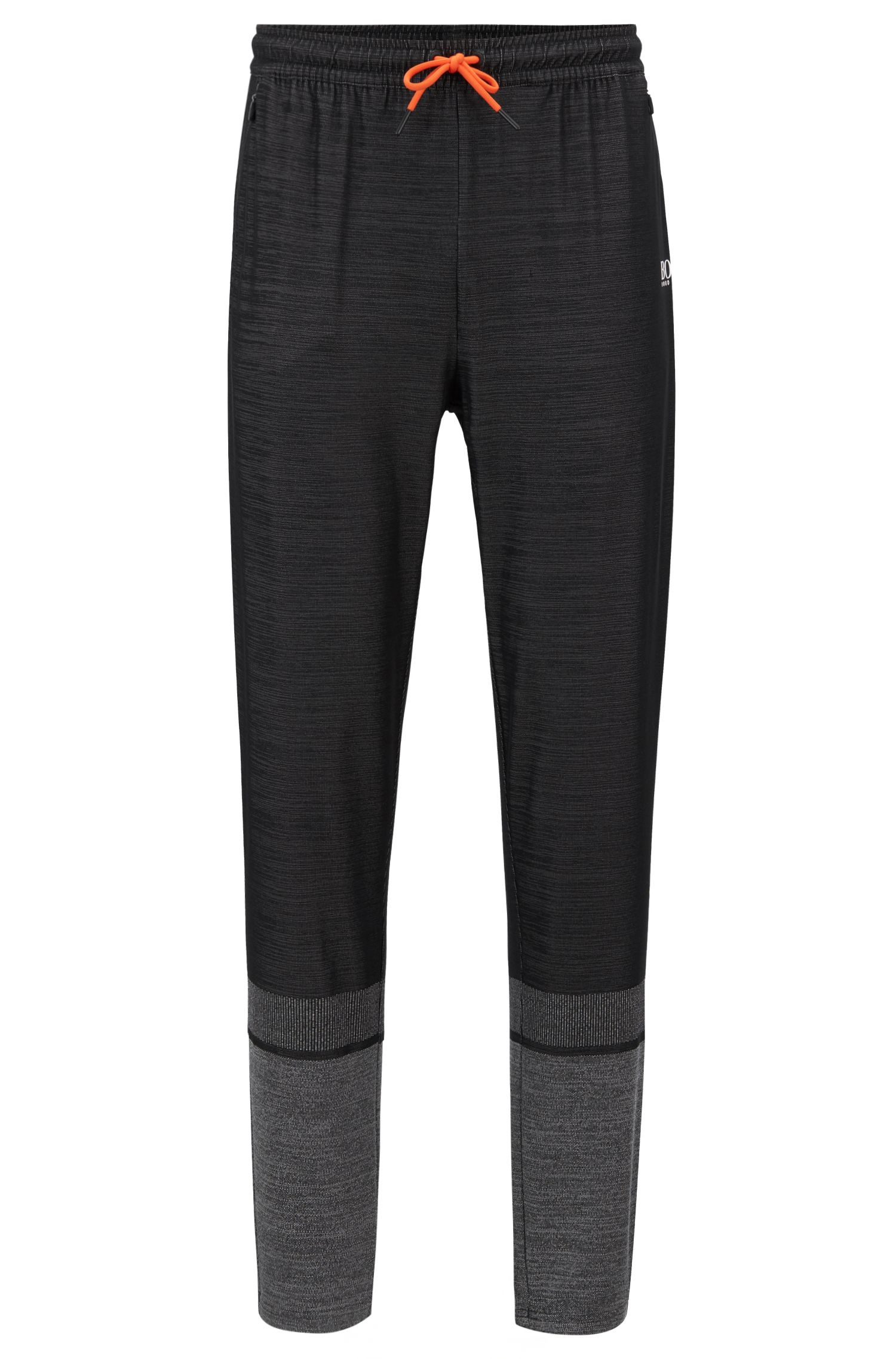Slim-fit pants in block-stripe moisture-wicking fabric, Black