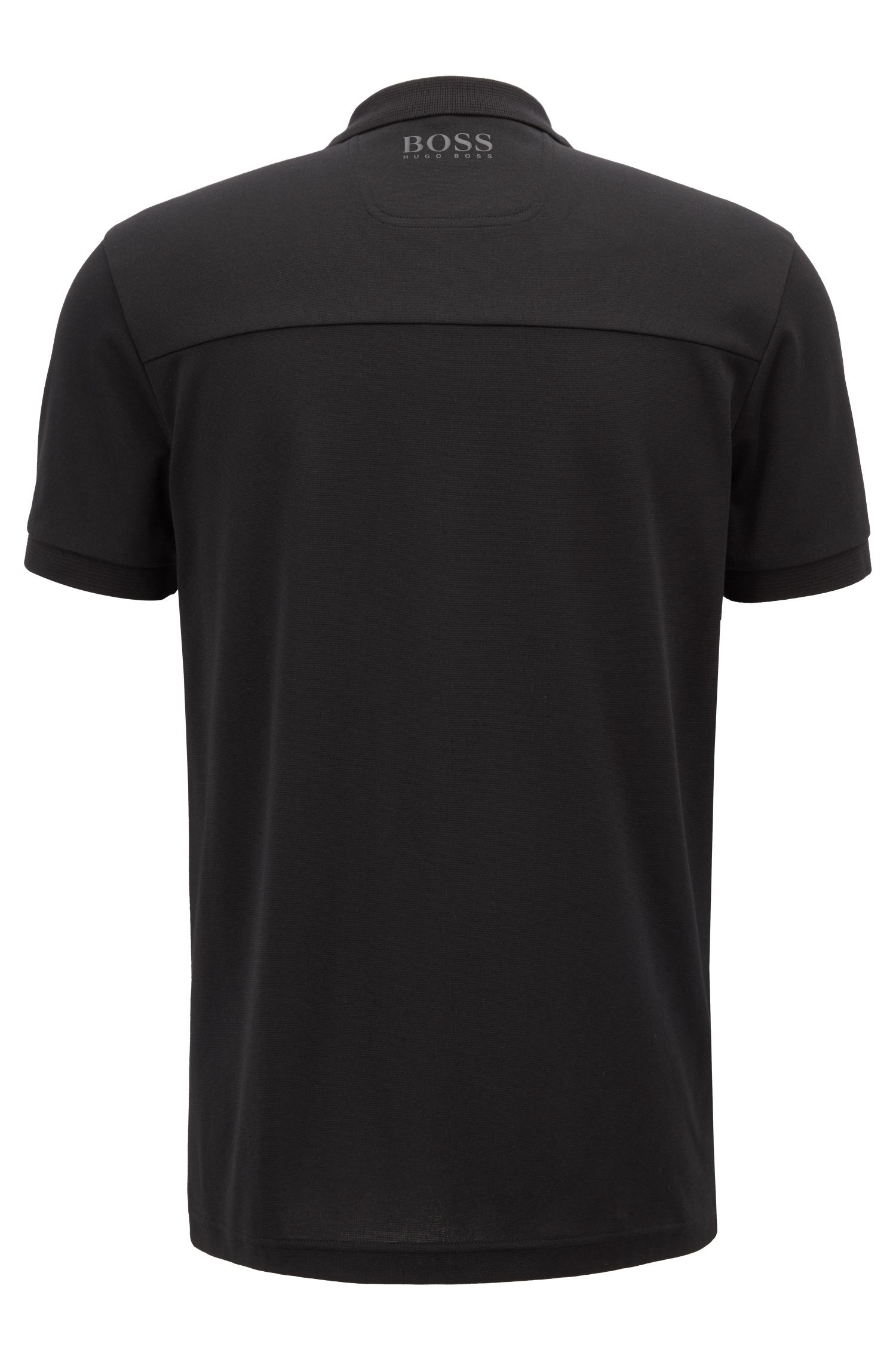 Slim-fit polo shirt with a water-repellent finish, Black