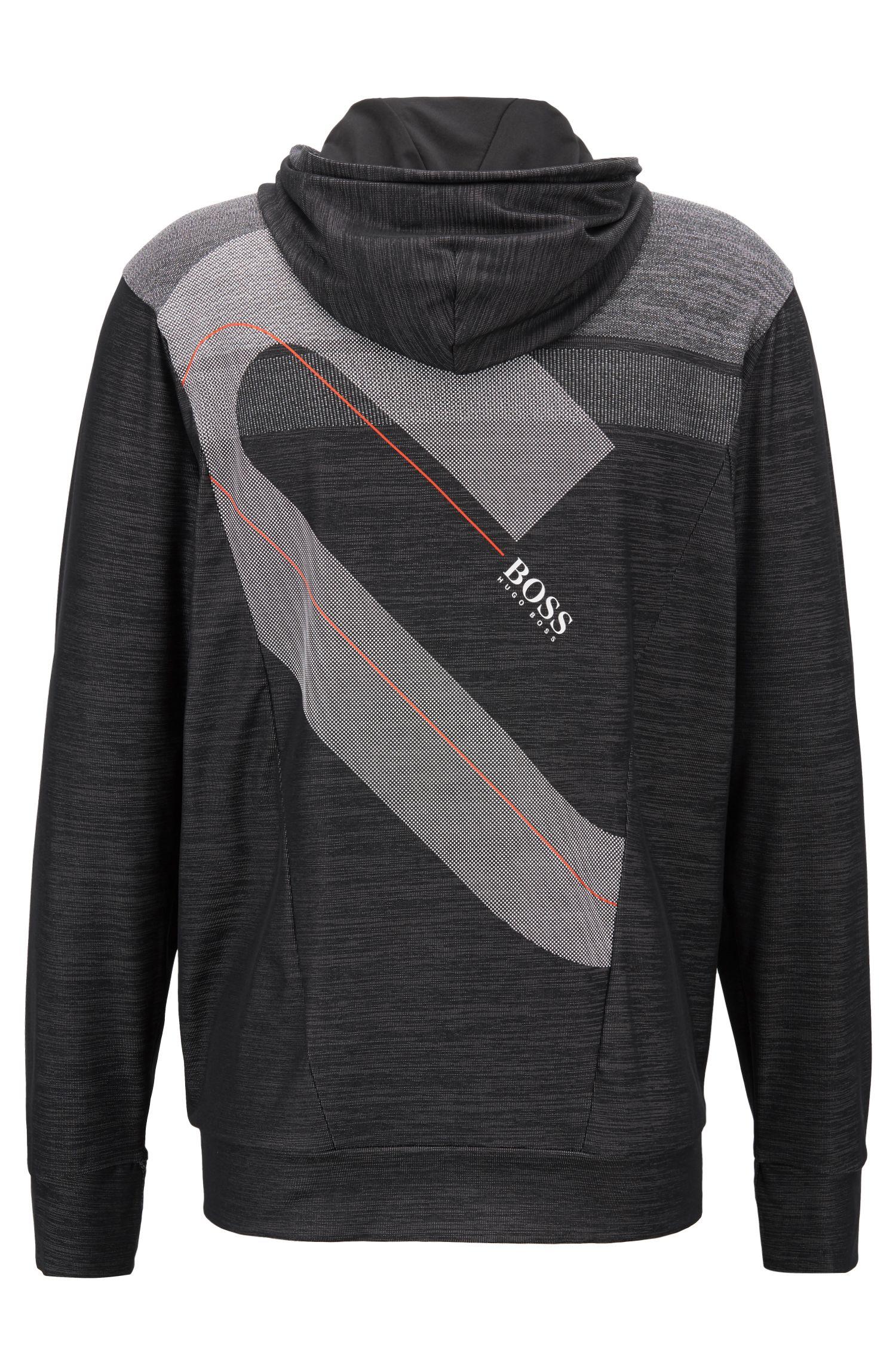 Slim-fit sweatshirt in block-stripe moisture-wicking fabric, Black