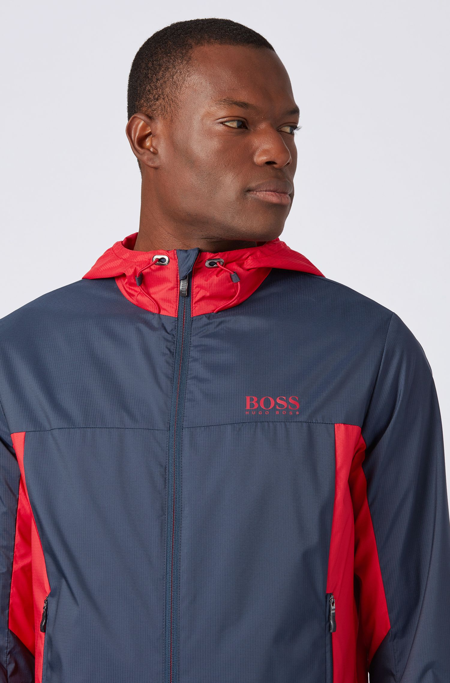 Lightweight water-repellent hooded jacket in ripstop fabric, Dark Blue