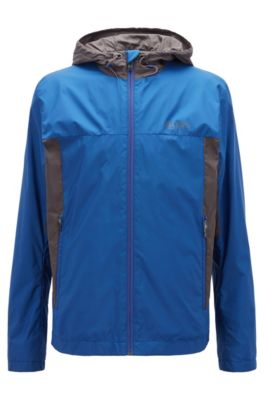 Lightweight water-repellent hooded jacket in ripstop fabric, Open Blue