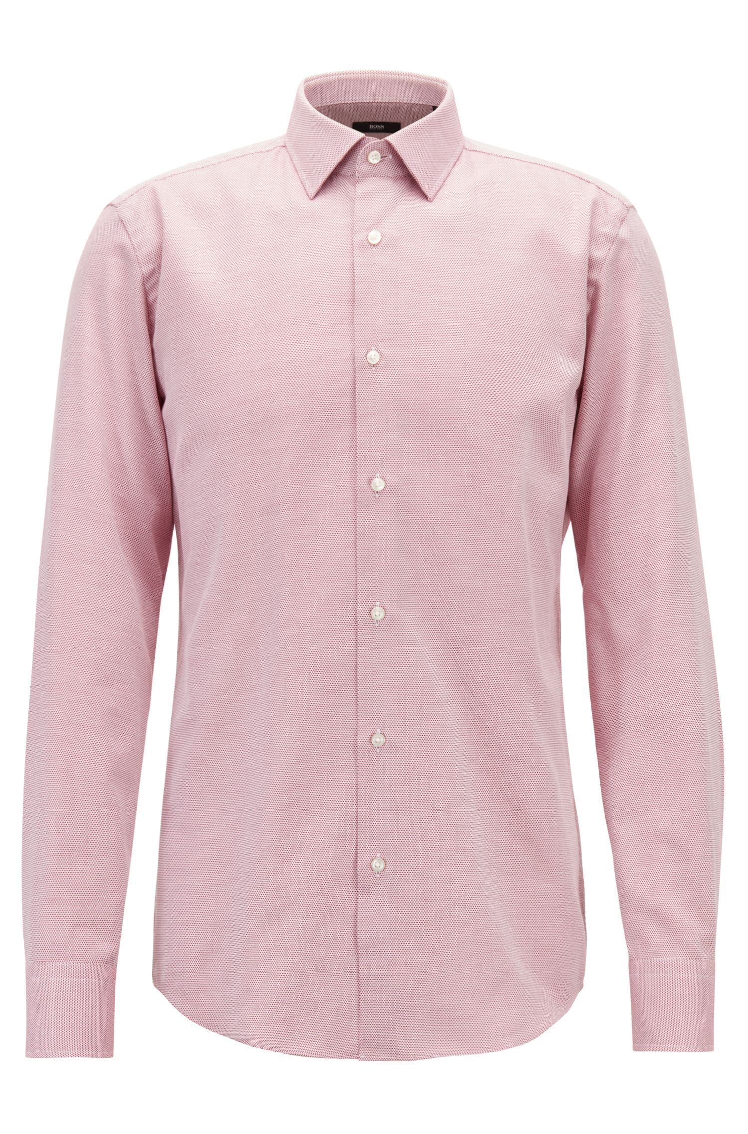 Slim-fit shirt in cotton with two-colored micro structure, Dark Red
