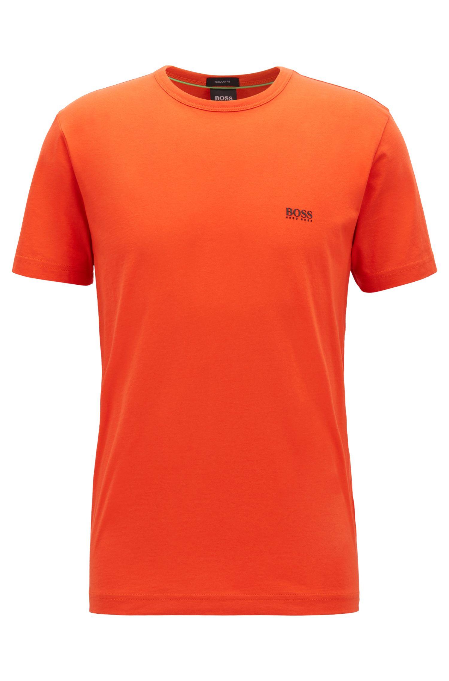 Crew-neck jersey T-shirt with rubber shoulder print, Dark Orange