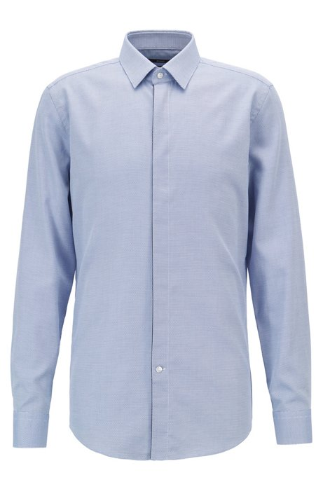 Slim-fit shirt with two-colored micro structure, Blue