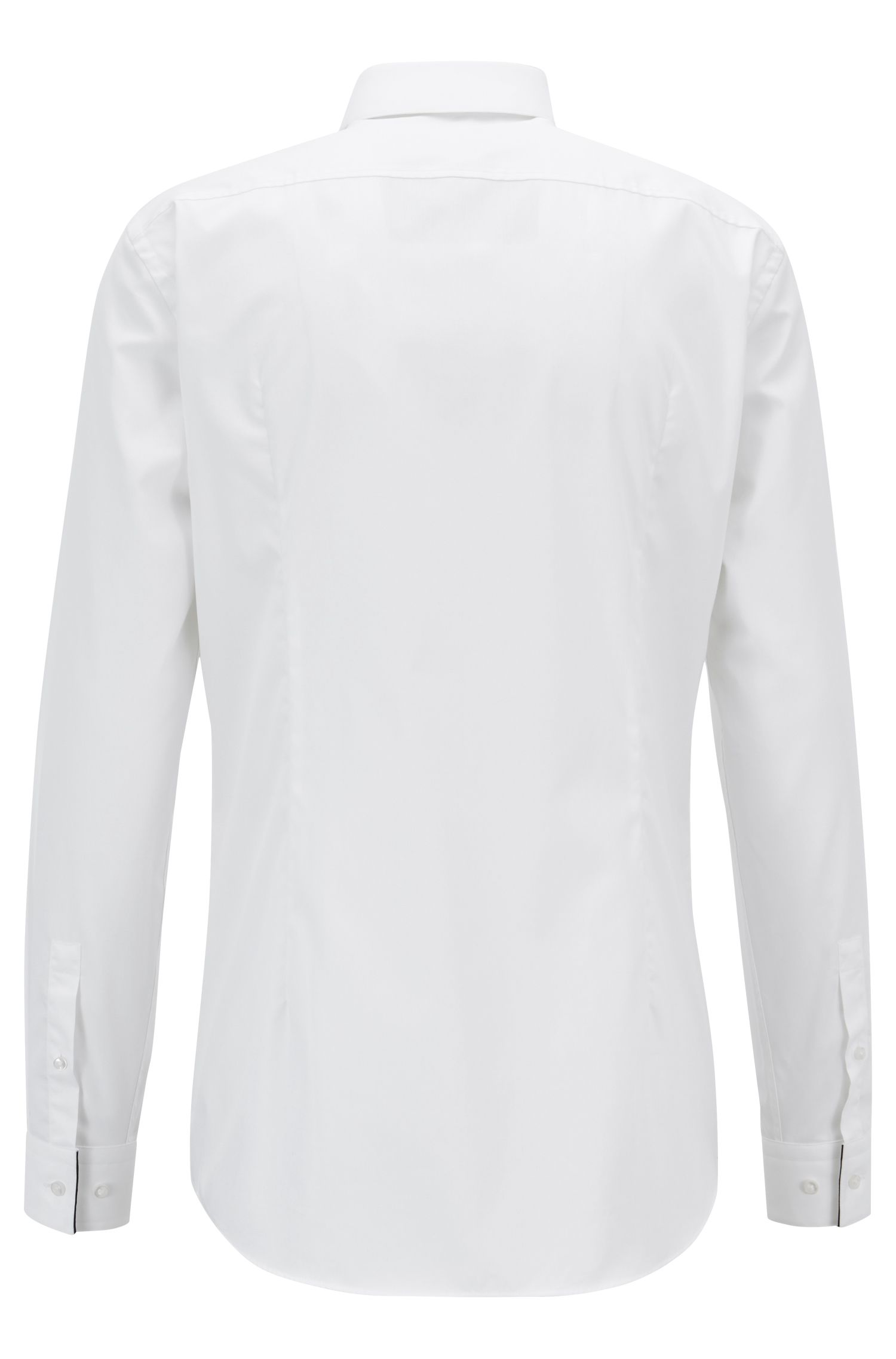 Easy-iron slim-fit shirt with contrast piping, White