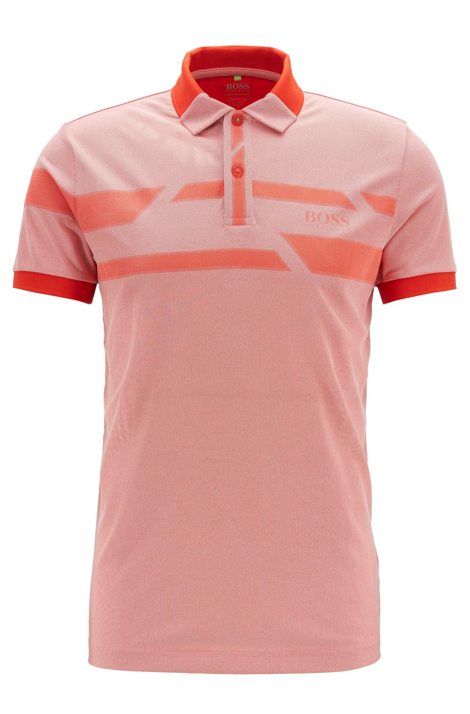 Printed polo shirt in moisture-wicking Oxford fabric, Dark Orange