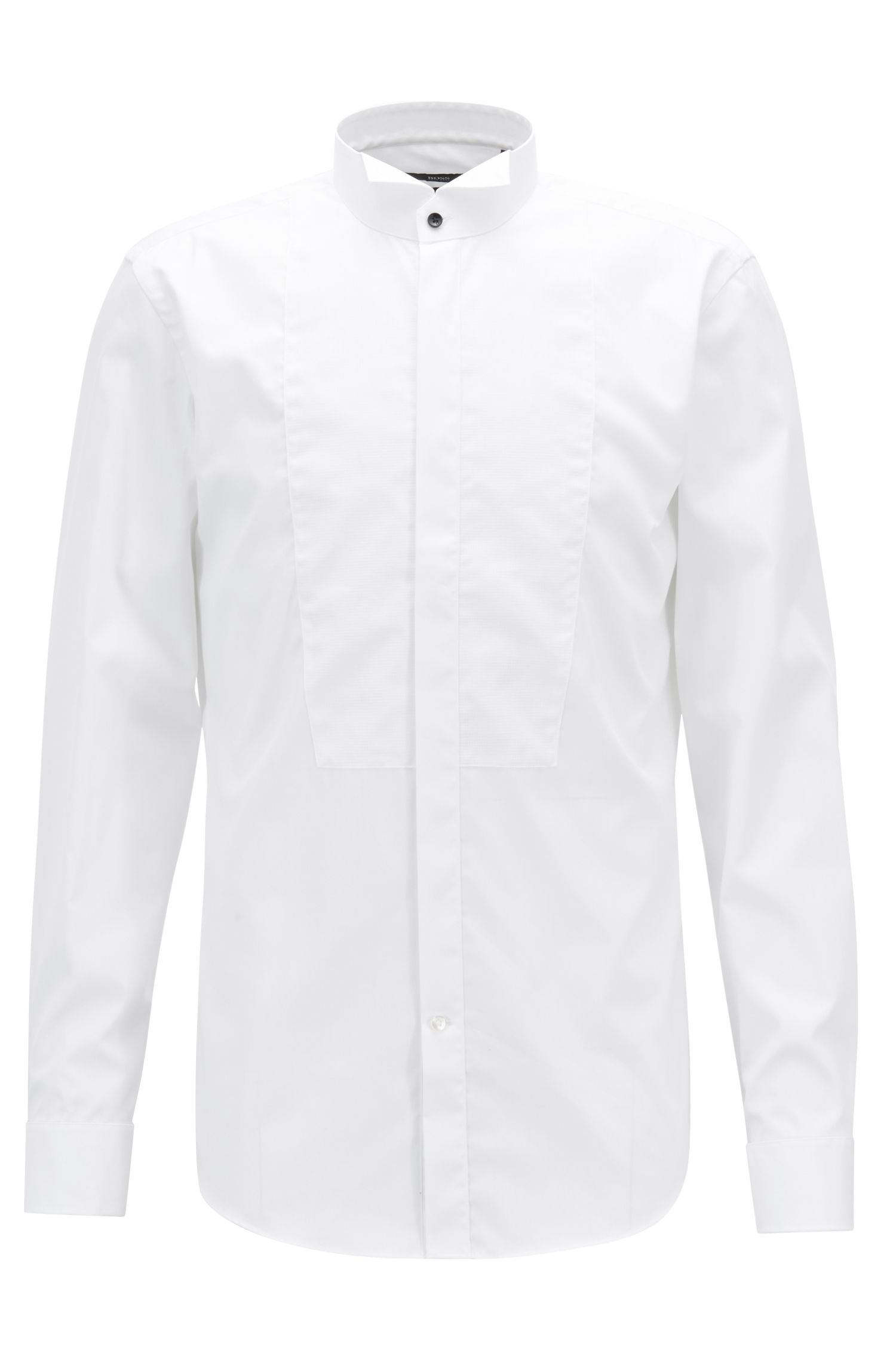 Slim-fit dress shirt in easy-iron Austrian cotton, White