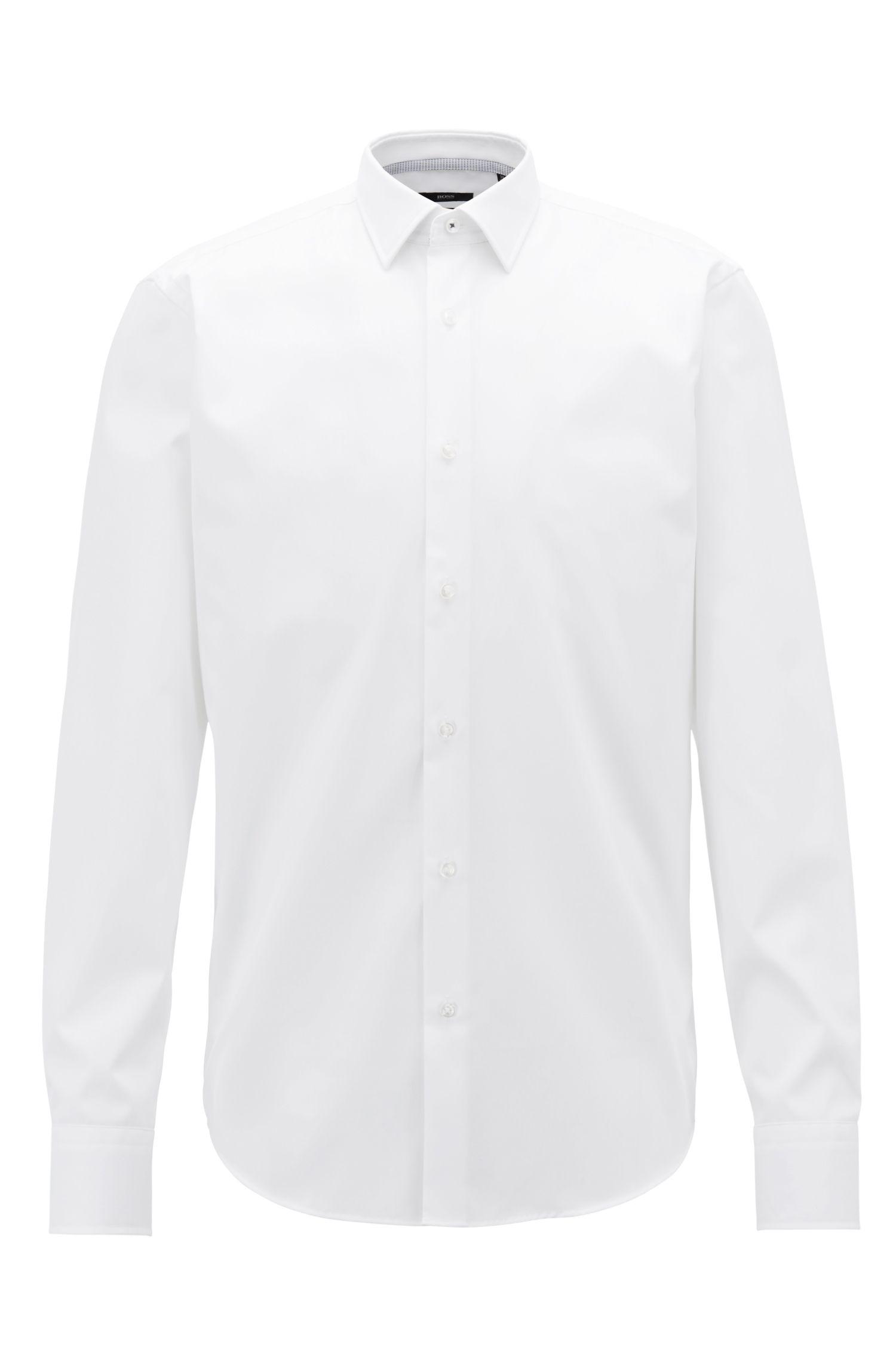 Regular-fit shirt in Austrian easy-iron cotton poplin, White