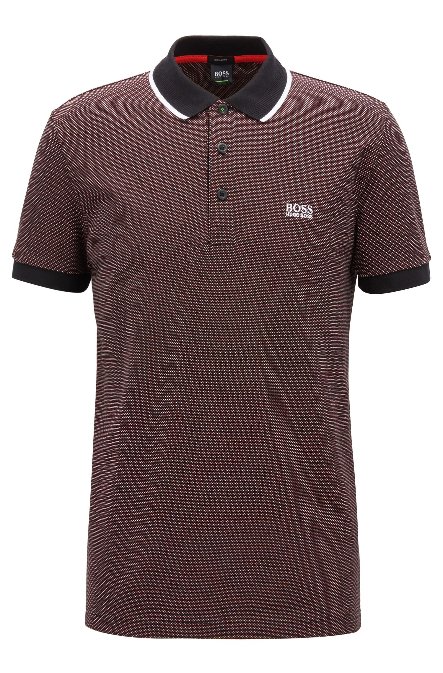Regular-fit polo shirt in micro-patterned cotton piqué, Black