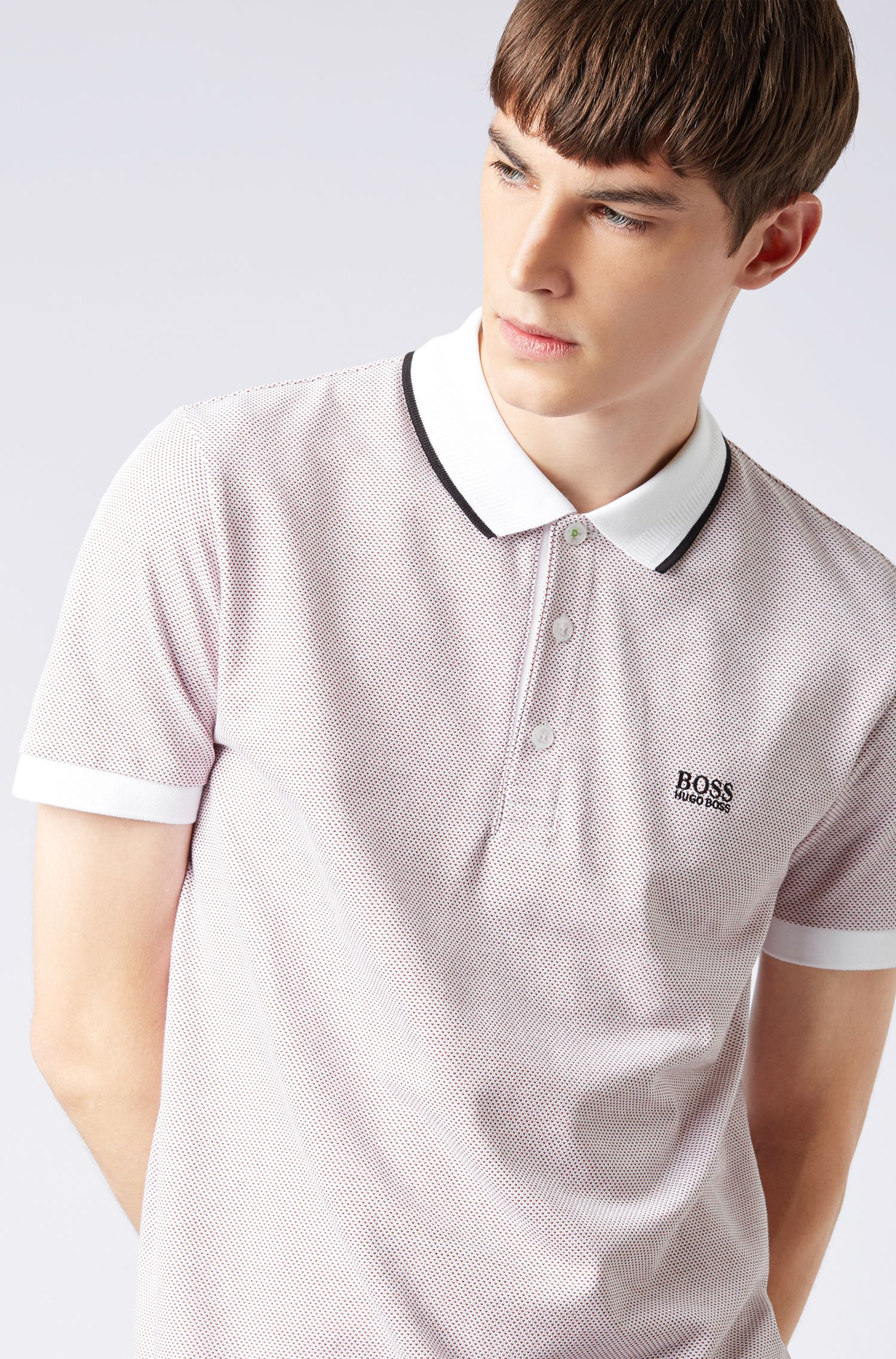 Regular-fit polo shirt in micro-patterned cotton piqué, White