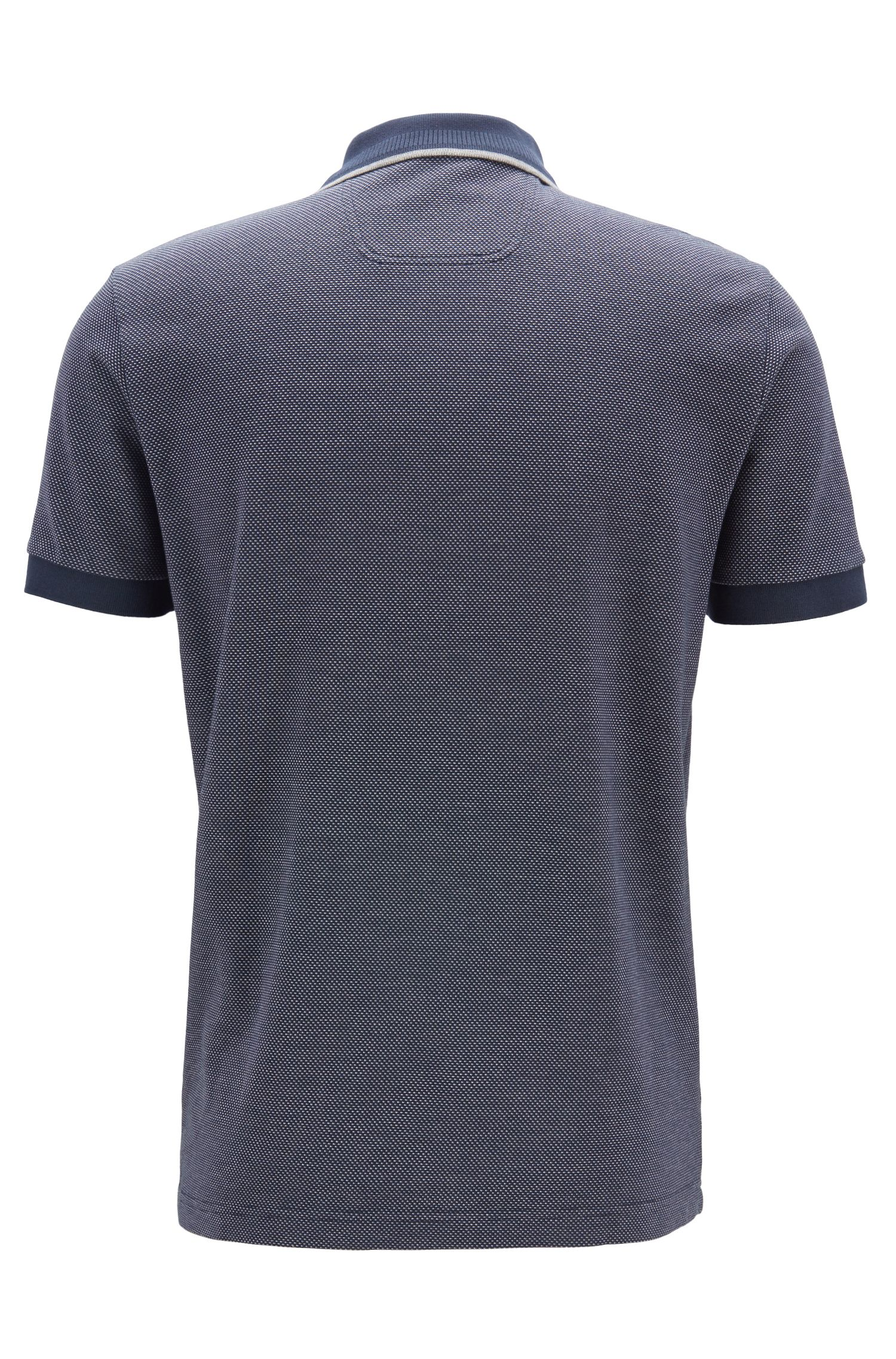 Regular-fit polo shirt in micro-patterned cotton piqué, Dark Blue