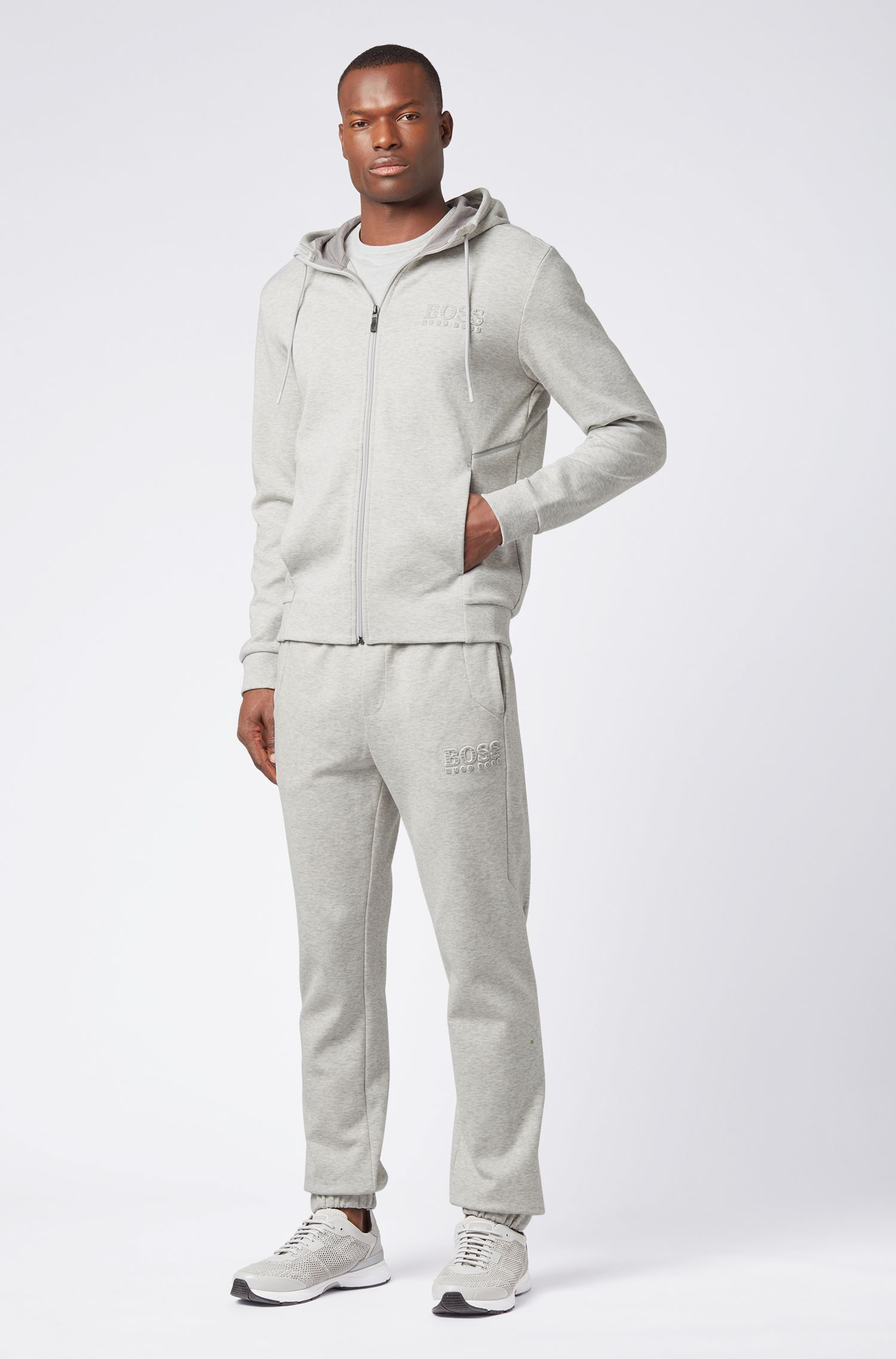 Slim-fit tracksuit bottoms with reflective detailing, Light Grey