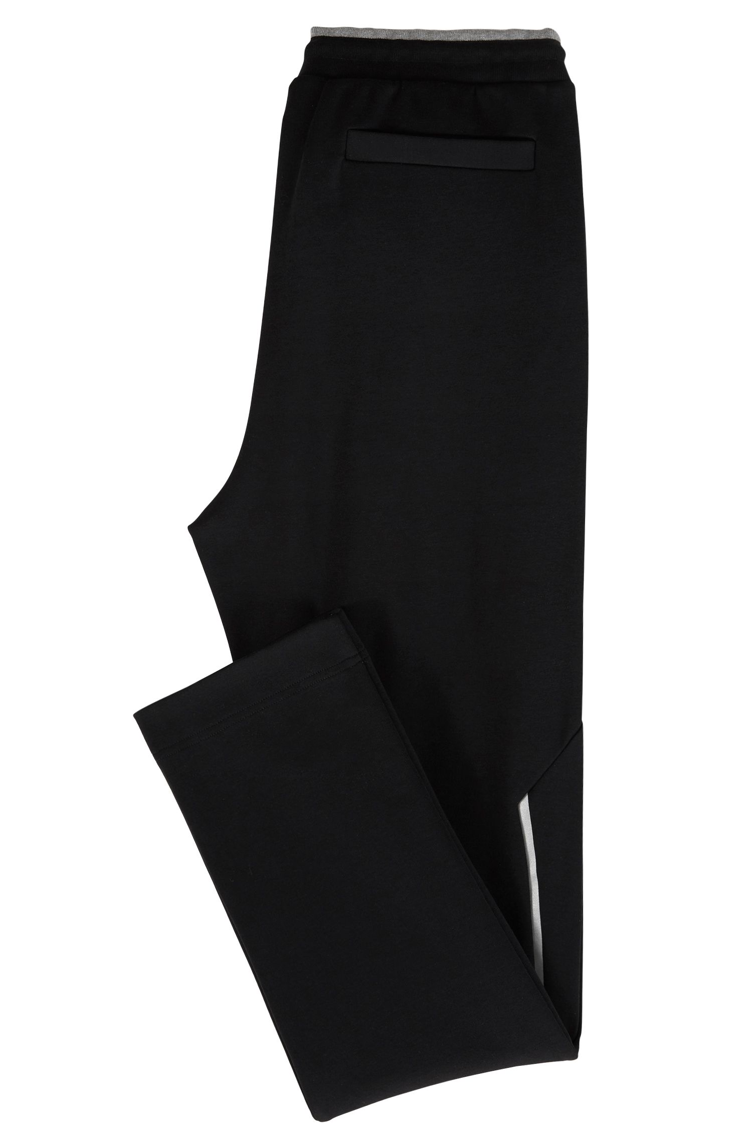 Slim-fit jersey trousers with reflective details, Black