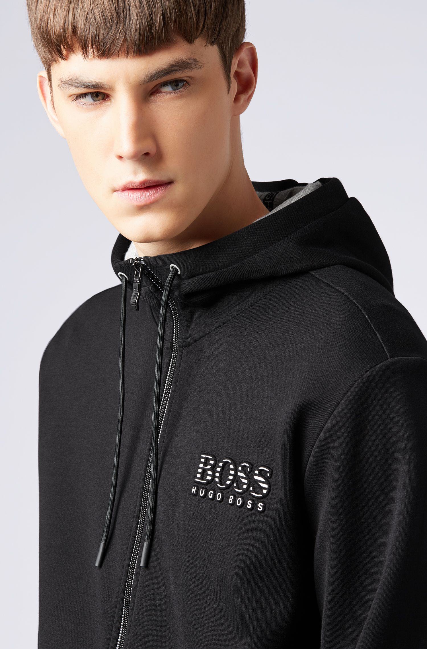 Hooded sweatshirt with logo and reflective detailing, Black