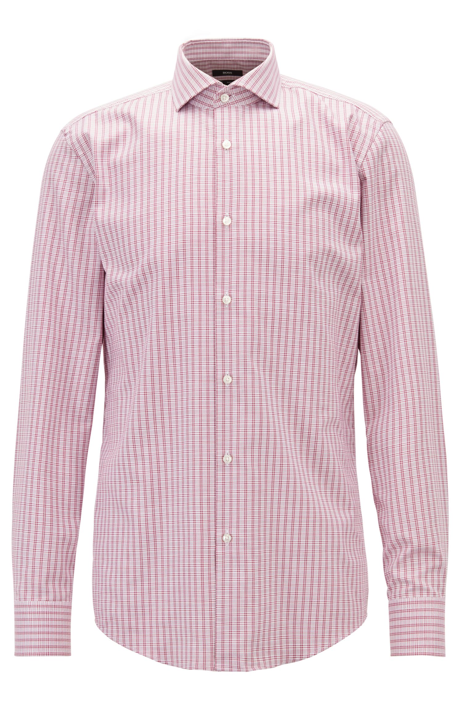 Slim-fit check shirt in Fresh Active cotton, Dark pink