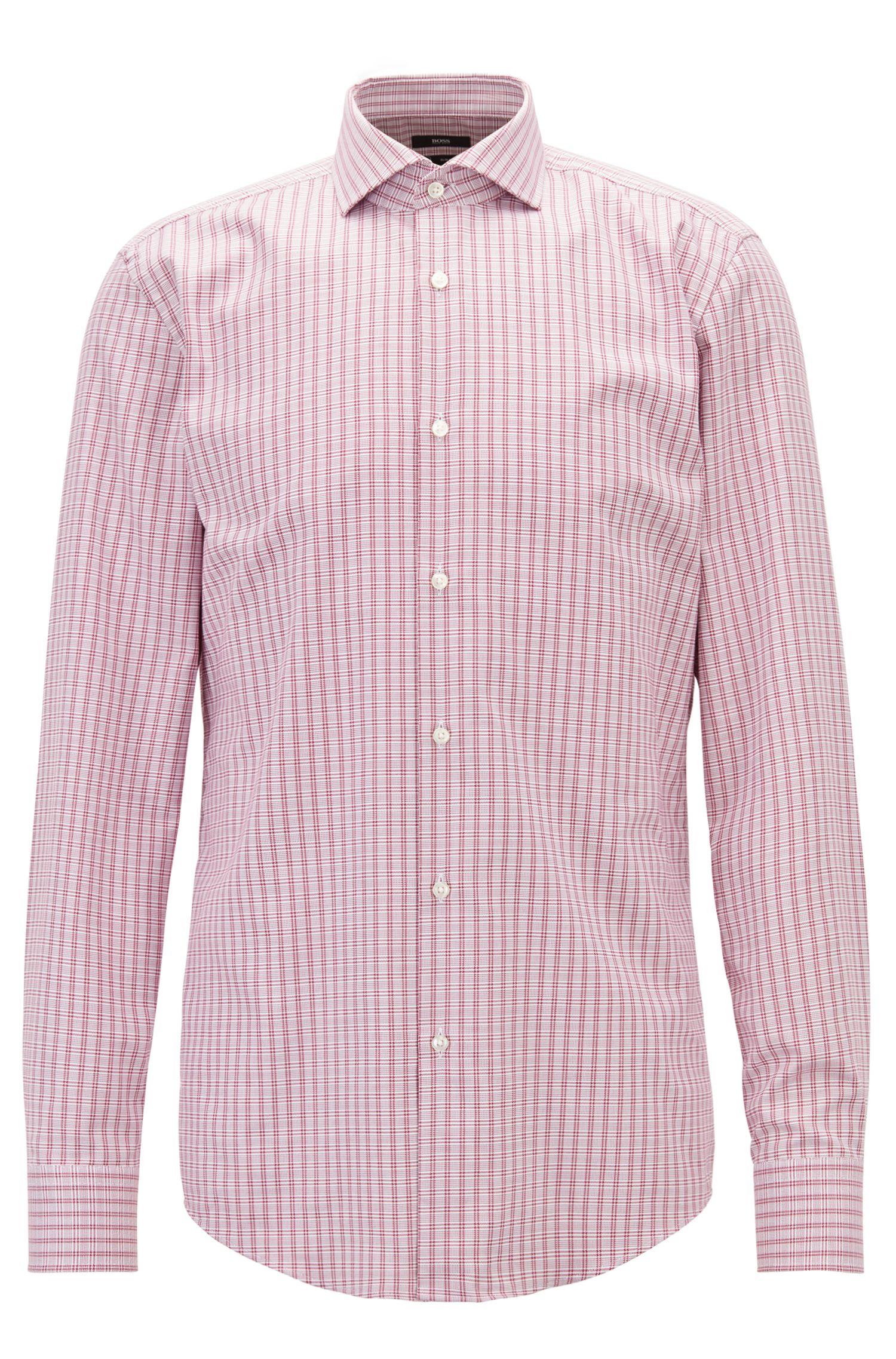 Slim-fit check shirt in Fresh Active cotton, Dark pink