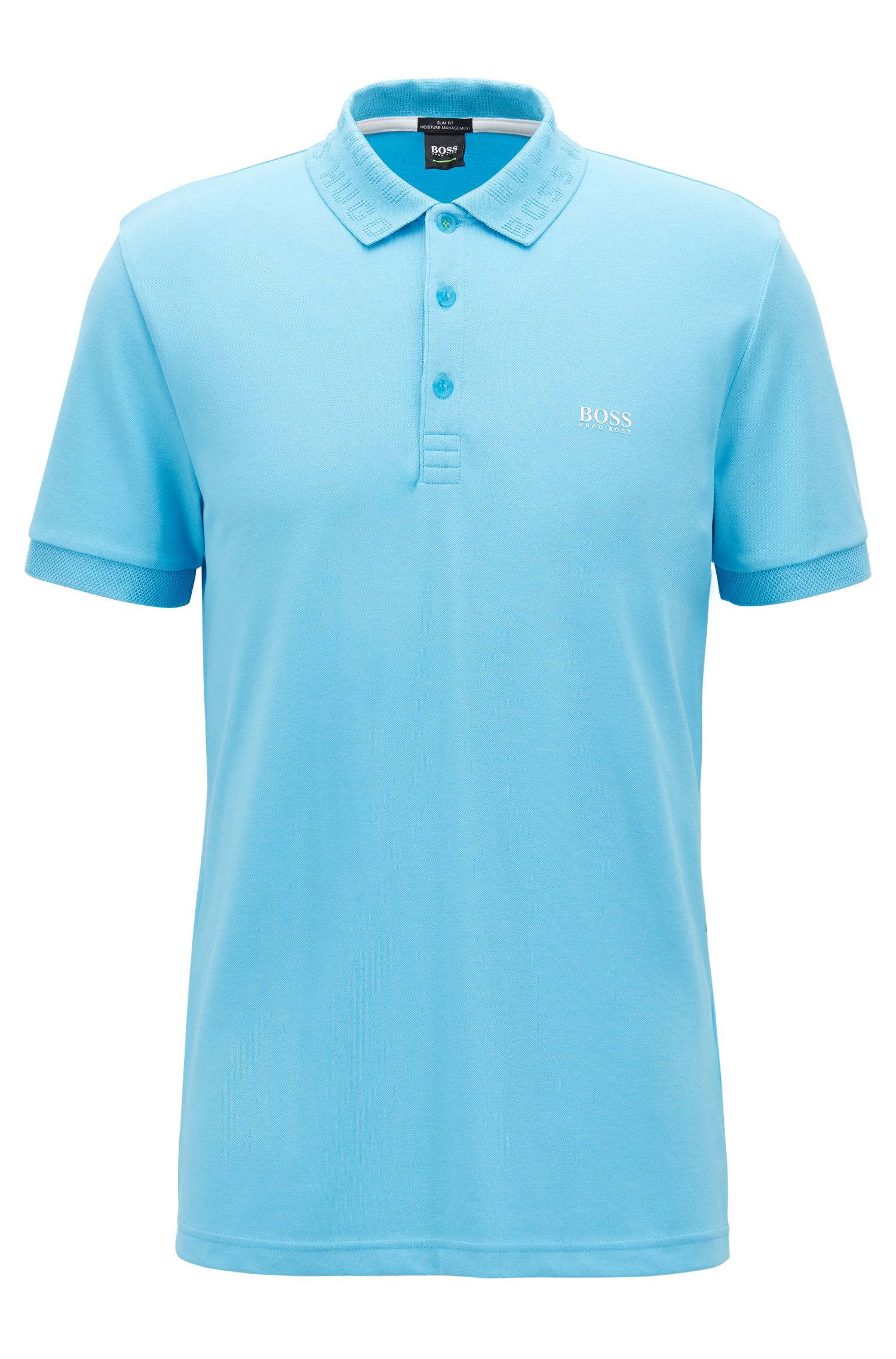 Slim-fit polo shirt with S.Café® and logo-knit collar, Turquoise