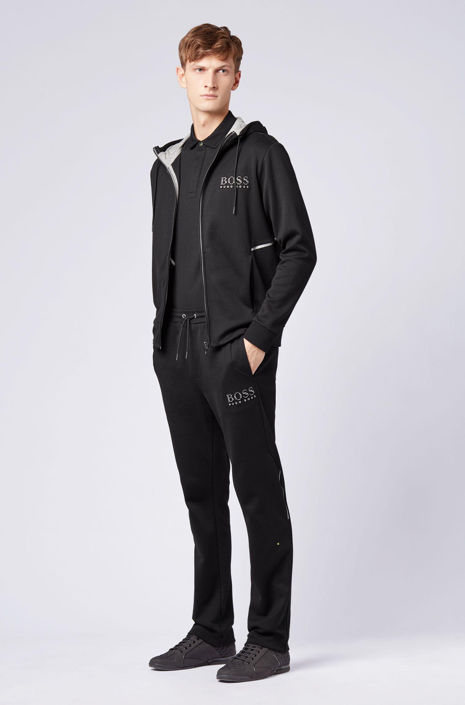 Regular-fit polo shirt with digital-clock detailing, Black