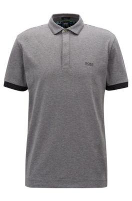 Regular-fit polo shirt with digital-clock detailing, Grey