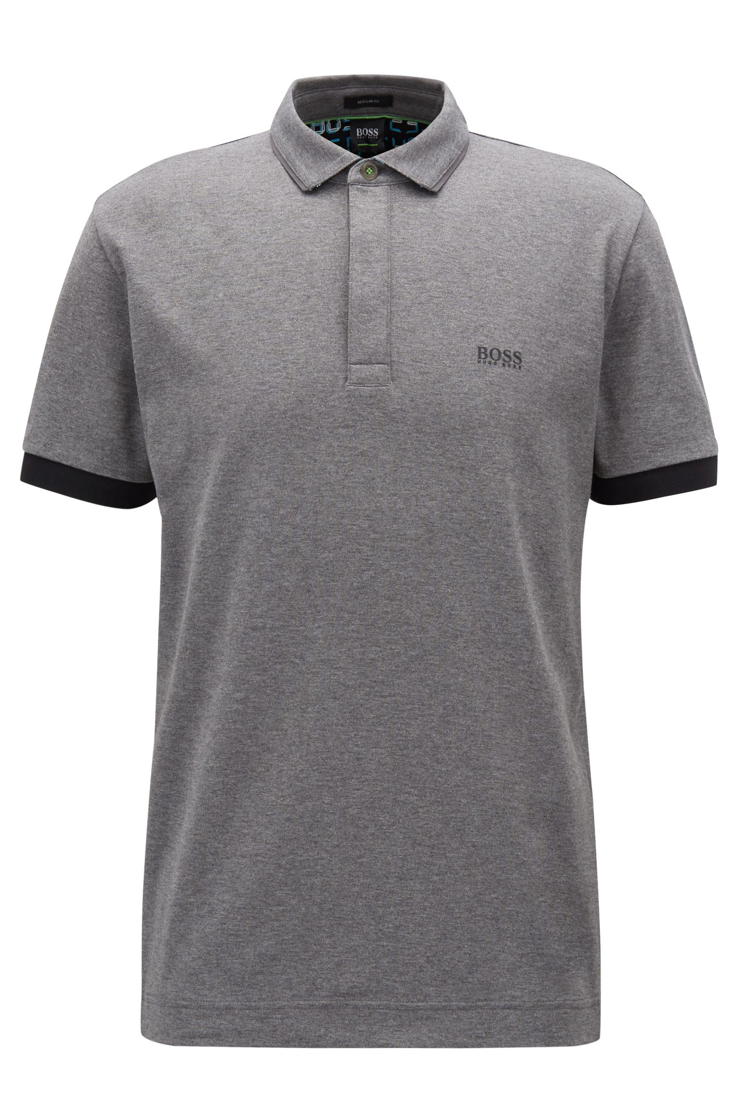 Regular-fit polo shirt with digital-clock detailing, Grey