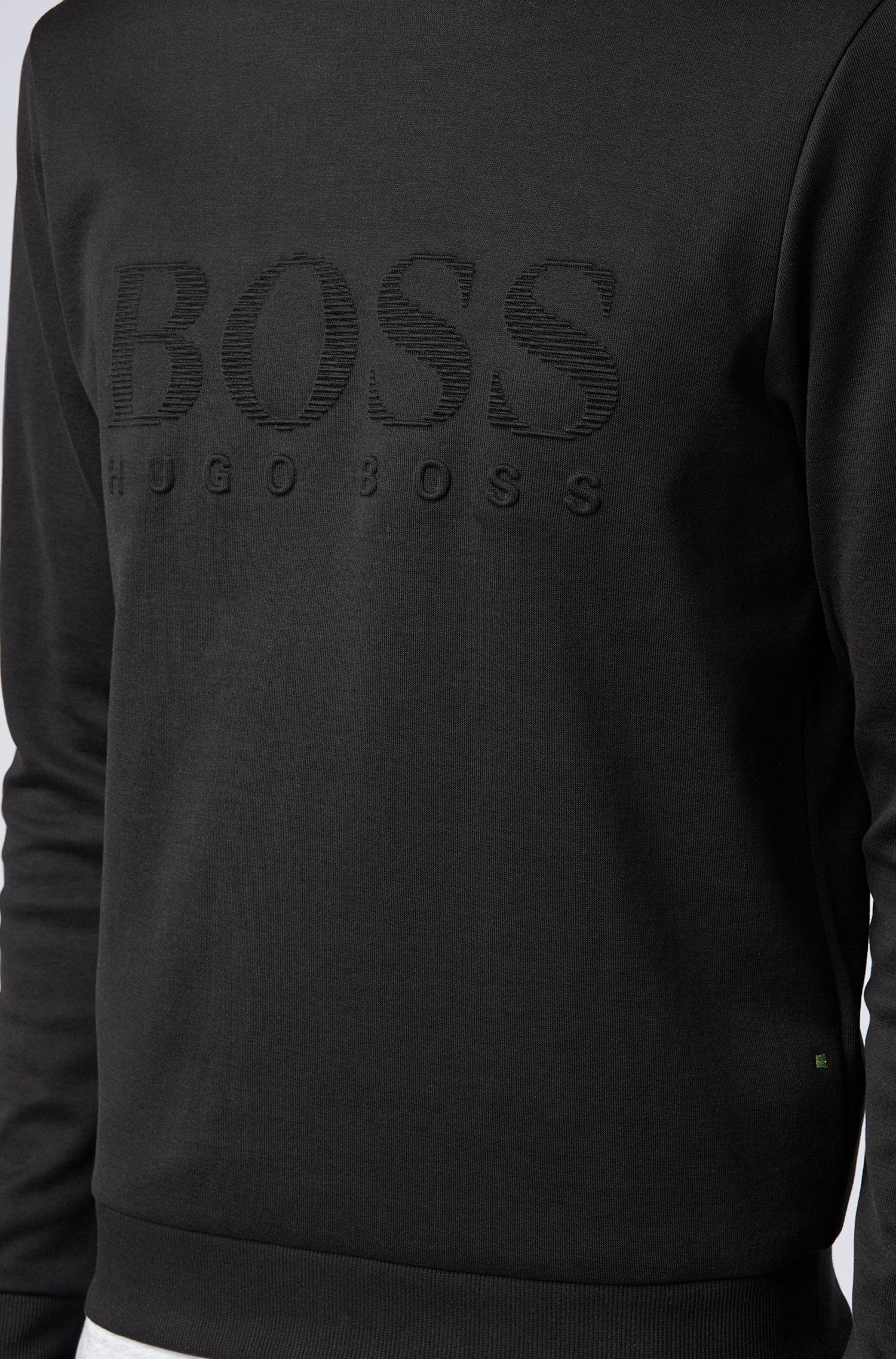 Slim-fit sweatshirt with tonal embossed logo, Black
