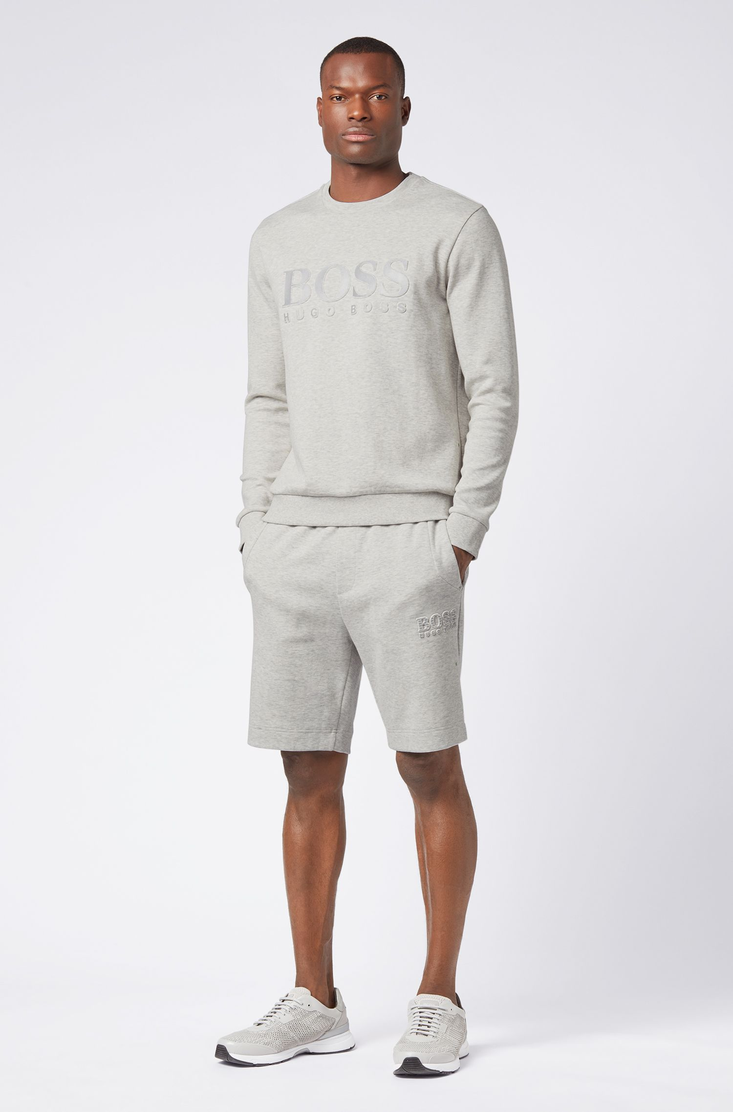 Slim-fit sweatshirt with tonal embossed logo, Light Grey