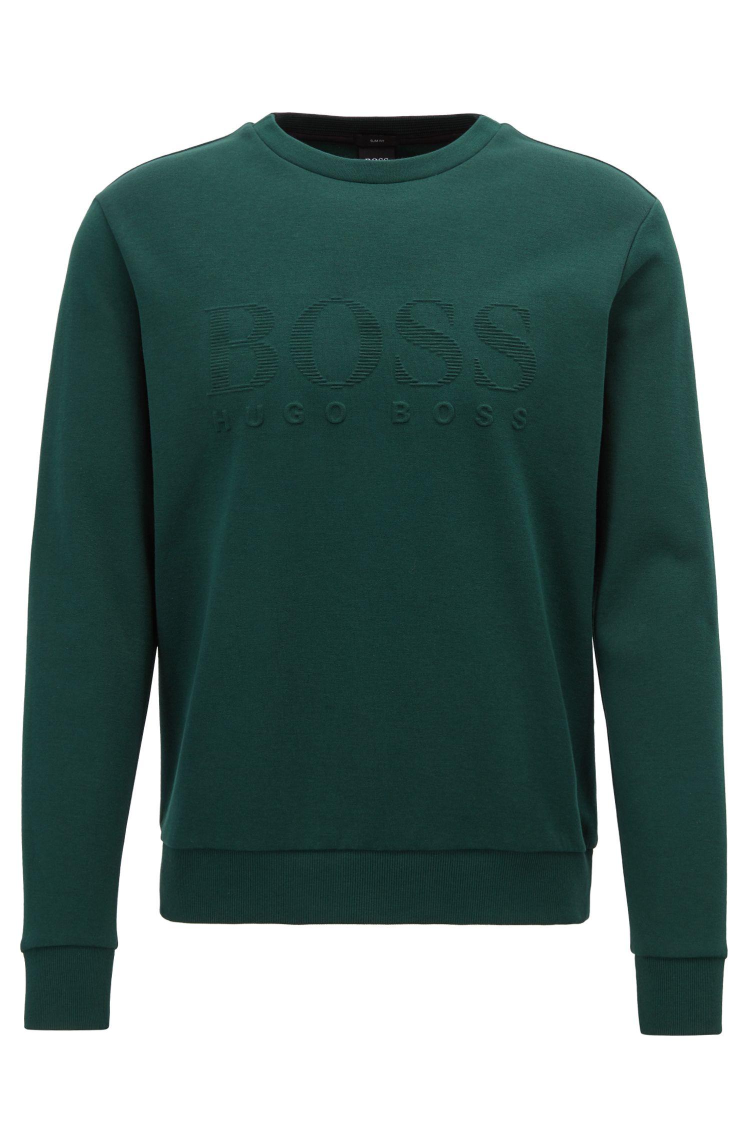 Slim-fit sweatshirt with tonal embossed logo, Open Green