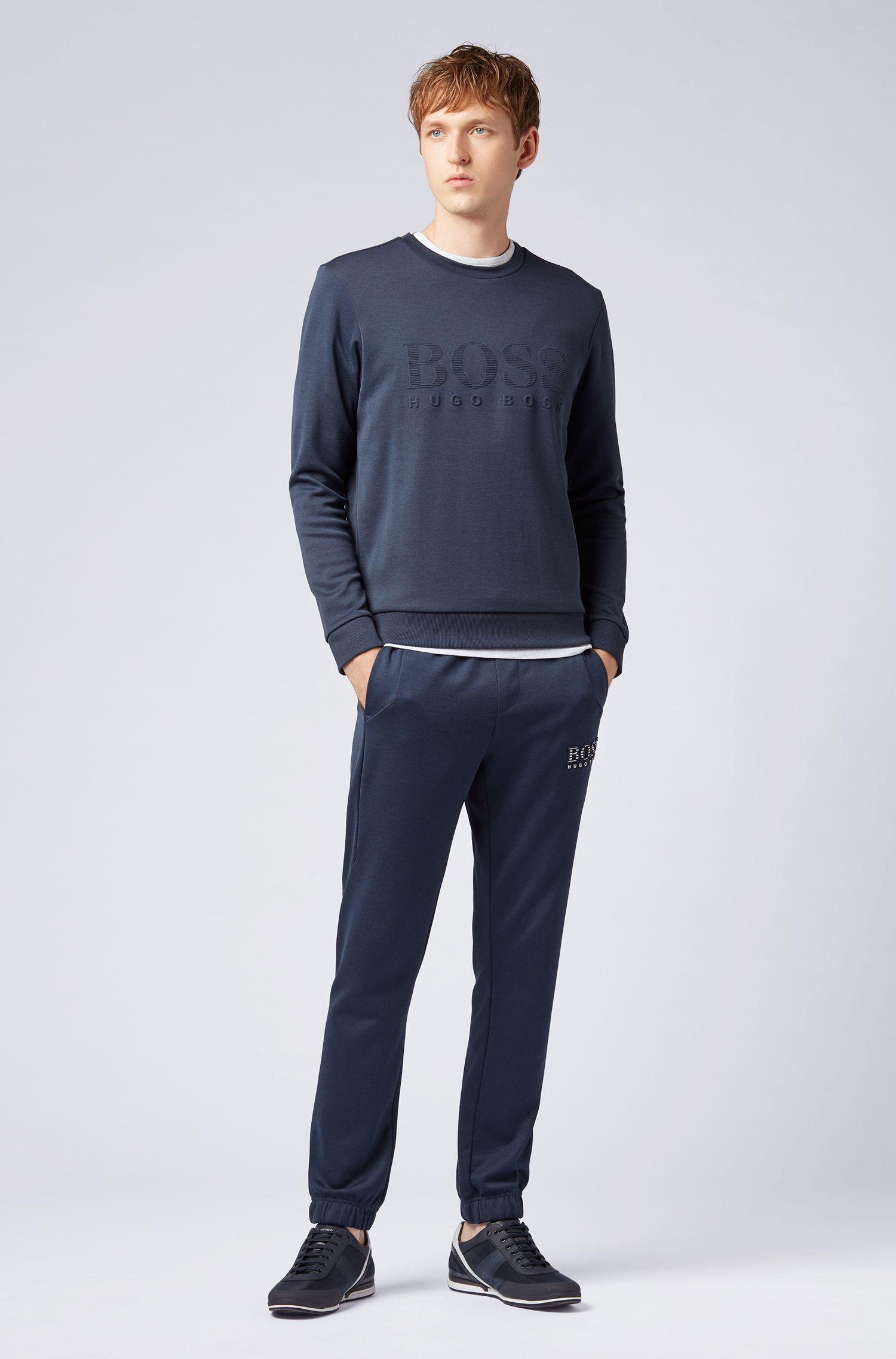 Slim-fit sweatshirt with tonal embossed logo, Dark Blue