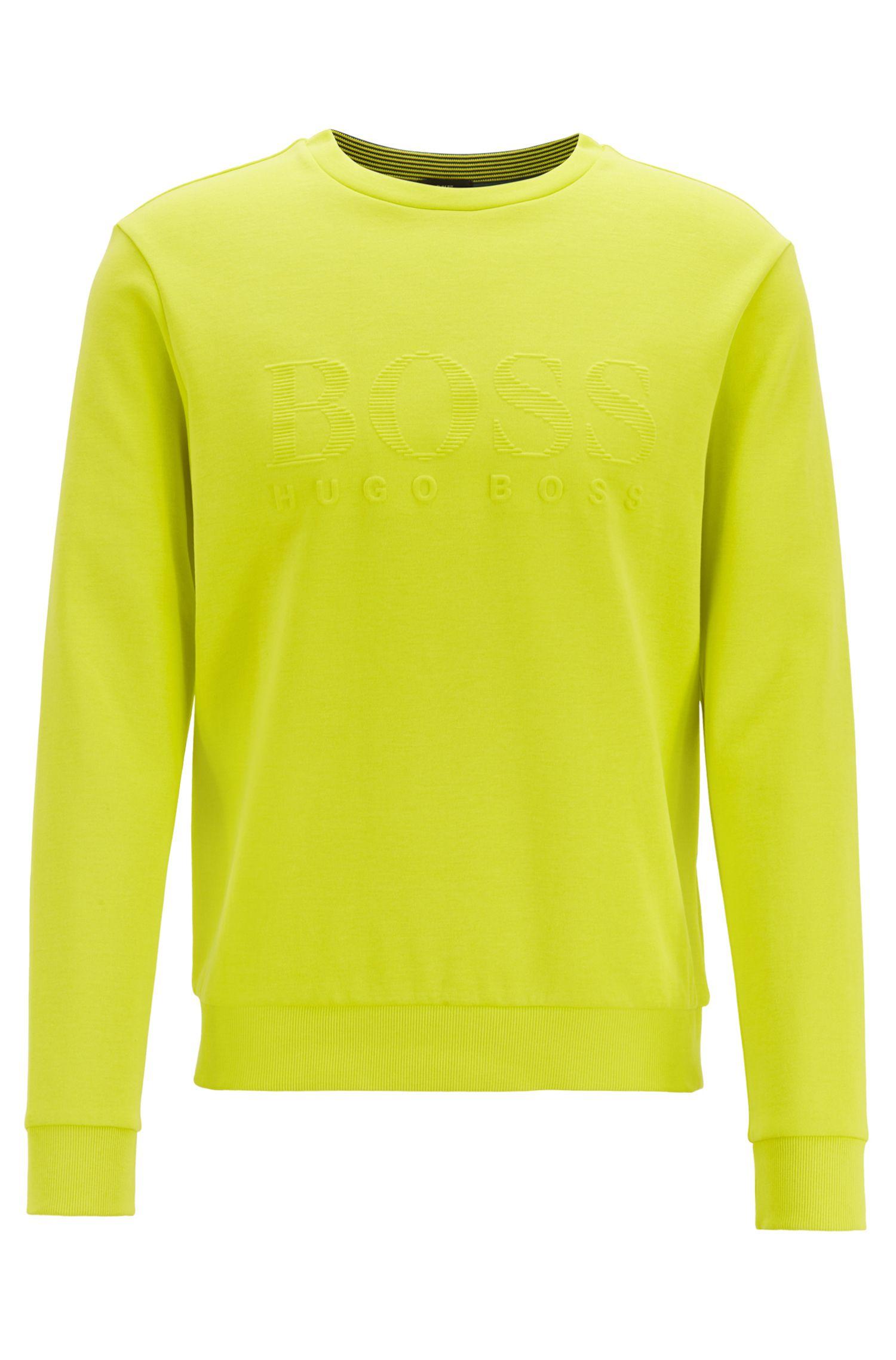 Slim-fit sweatshirt with tonal embossed logo, Yellow