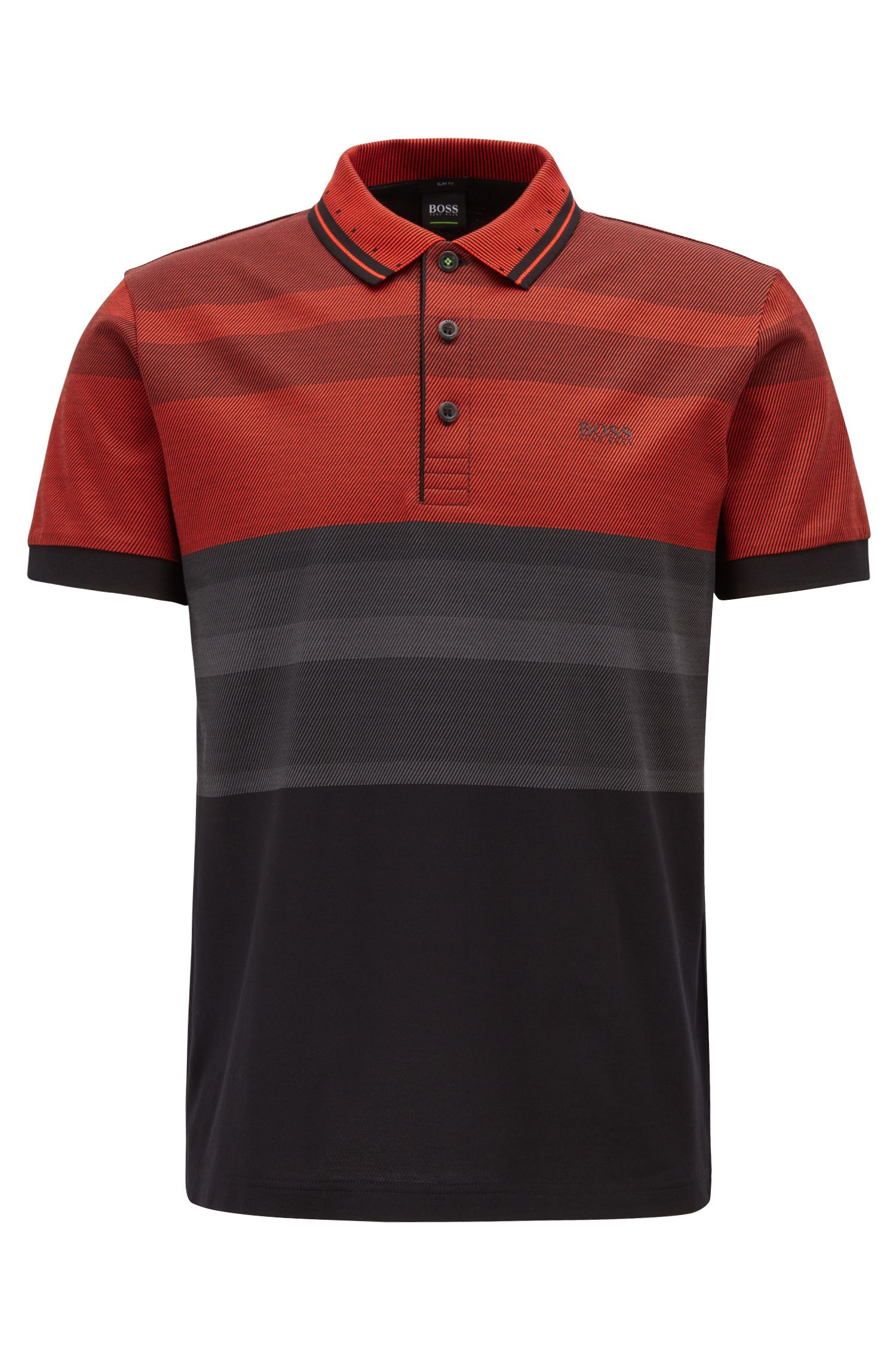 Slim-fit polo shirt with engineered stripes, Black
